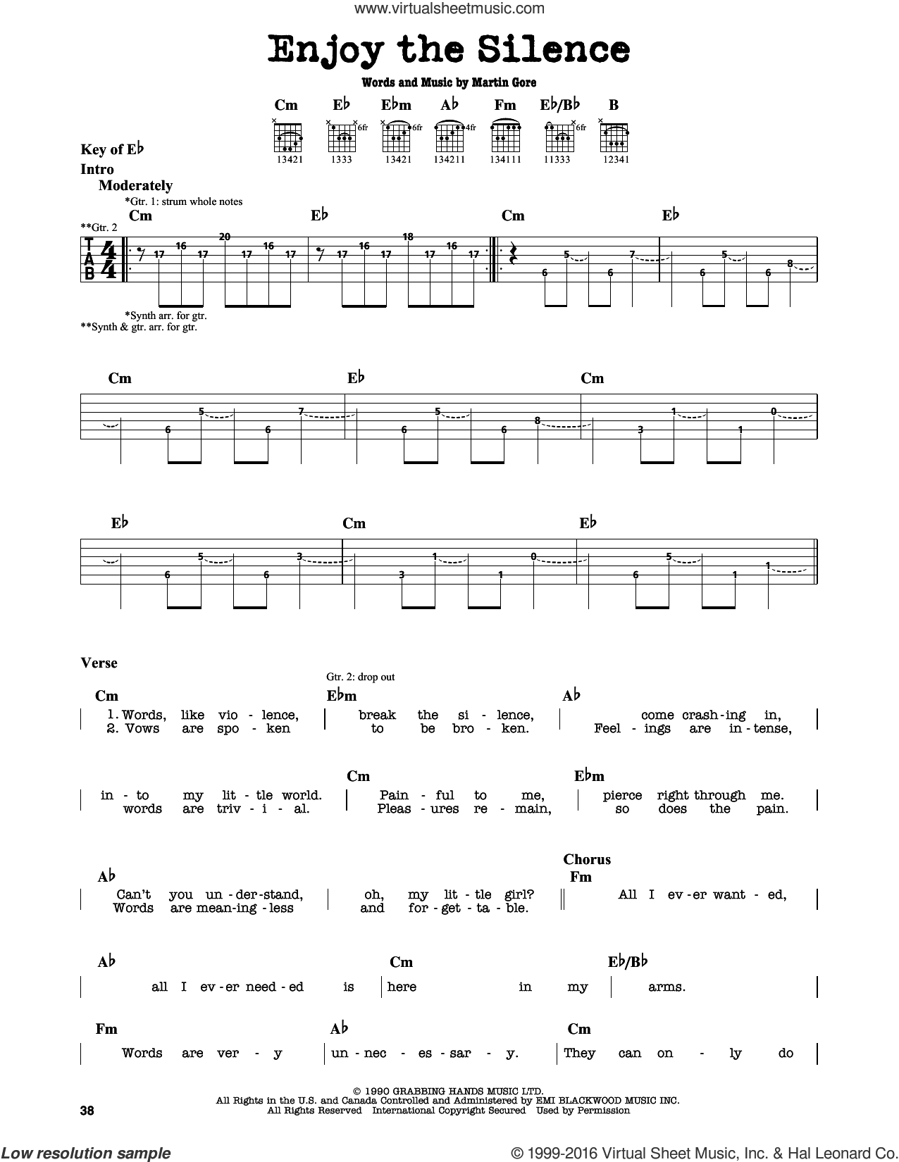 Enjoy The Silence sheet music for guitar solo (lead sheet) by Martin Gore