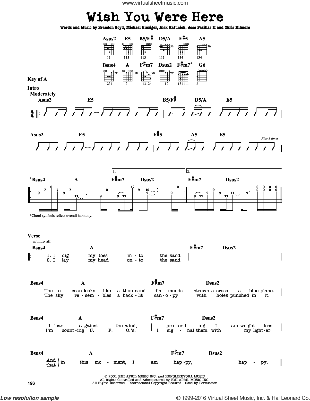 Wish You Were Here sheet music for guitar solo (lead sheet) by Incubus, Alex Katunich, Brandon Boyd, Chris Kilmore, Jose Pasillas II and Michael Einziger, intermediate guitar (lead sheet). Score Image Preview.