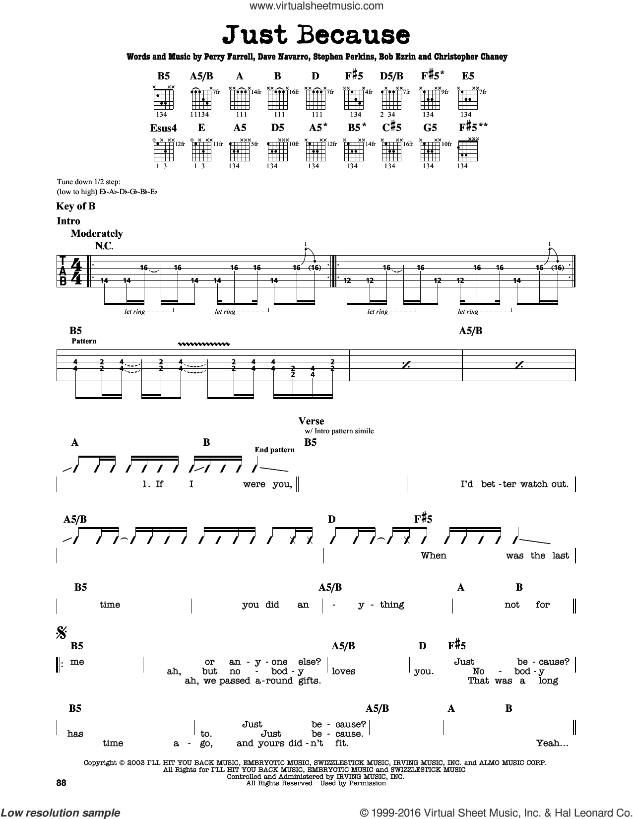 Just Because sheet music for guitar solo (lead sheet) by Jane's Addiction, Bob Ezrin, Christopher Chaney, Dave Navarro and Perry Farrell, intermediate guitar (lead sheet)