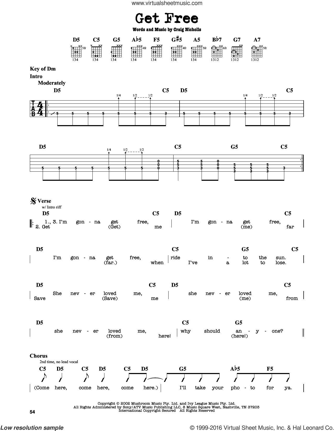 Get Free sheet music for guitar solo (lead sheet) by Craig Nicholls