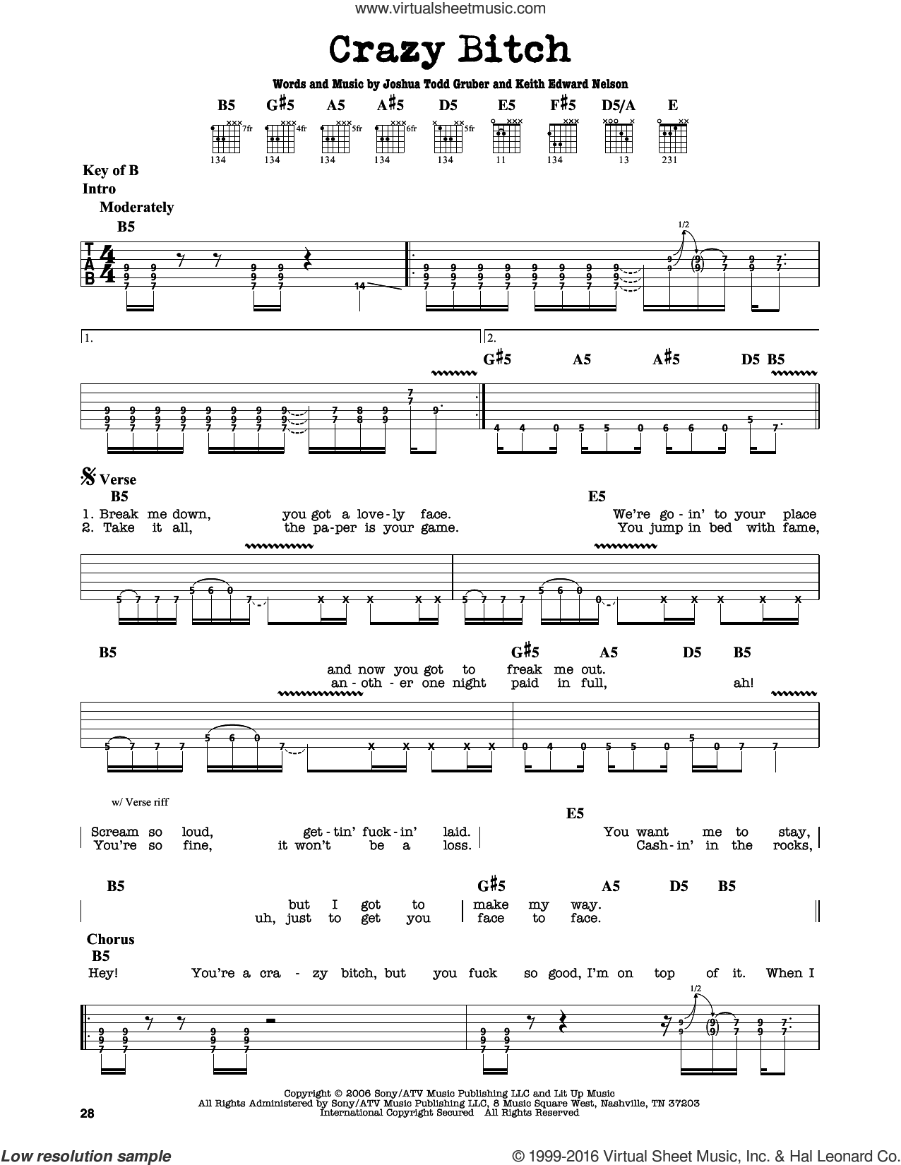 Crazy Bitch sheet music for guitar solo (lead sheet) by Buckcherry and Keith Edward Nelson. Score Image Preview.