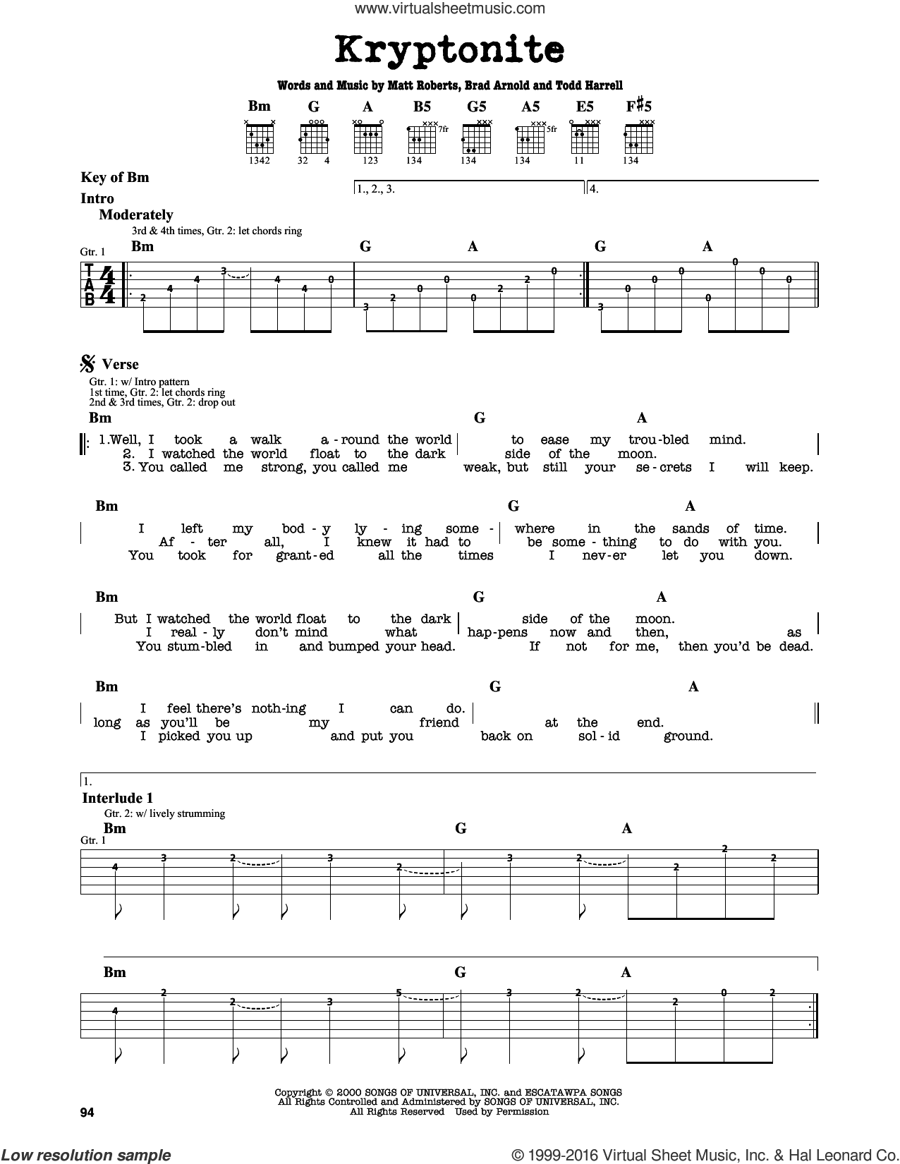 Kryptonite sheet music for guitar solo (lead sheet) by Todd Harrell and 3 Doors Down. Score Image Preview.