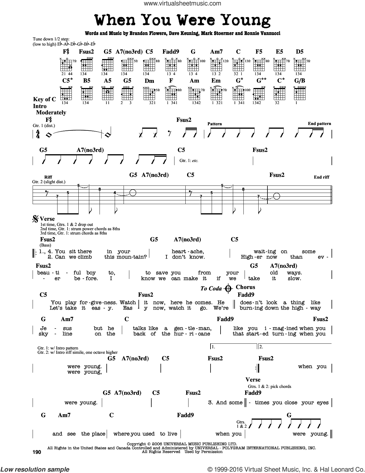 When You Were Young sheet music for guitar solo (lead sheet) by The Killers and Brandon Flowers. Score Image Preview.