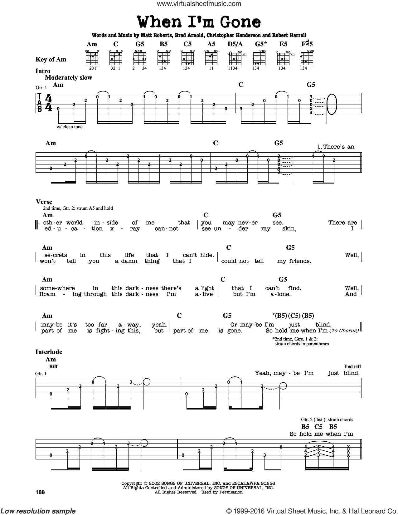 When I'm Gone sheet music for guitar solo (lead sheet) by 3 Doors Down, intermediate guitar (lead sheet). Score Image Preview.