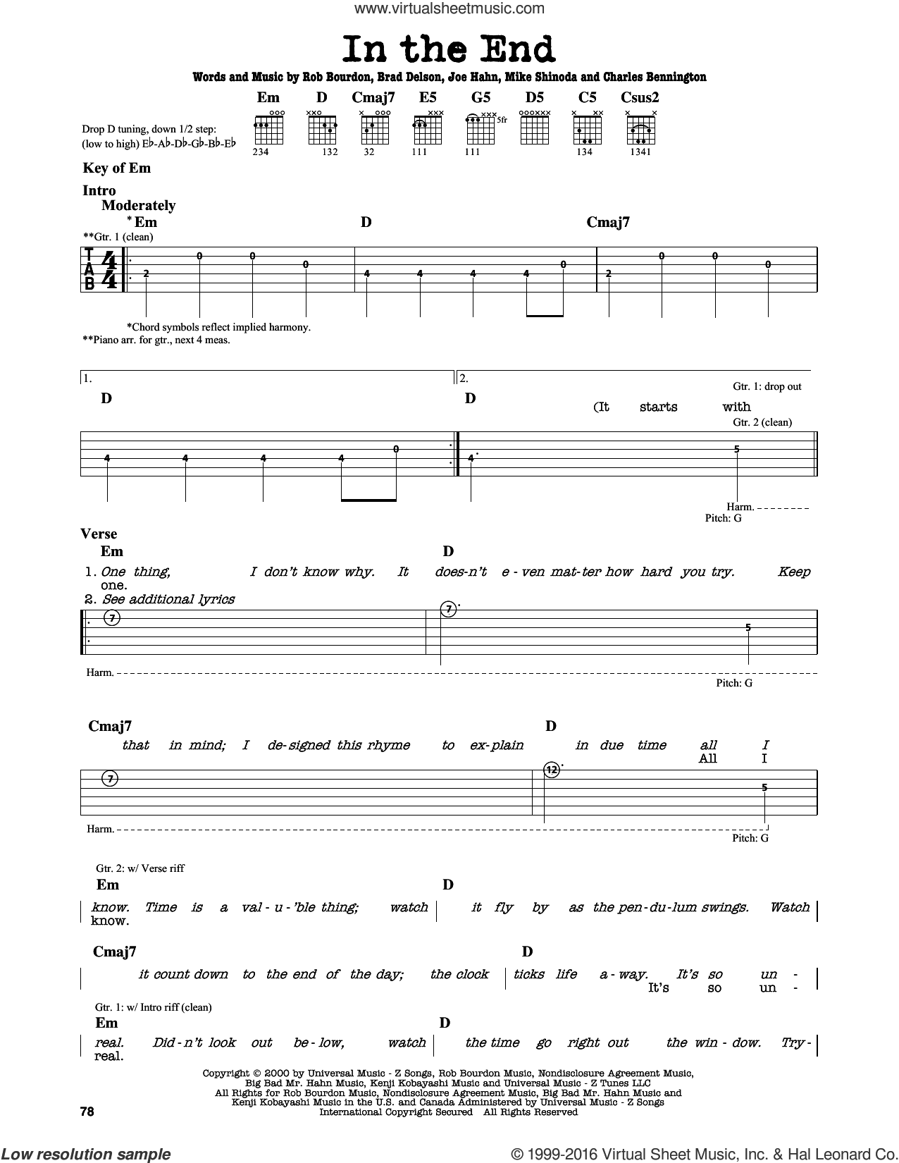 In The End sheet music for guitar solo (lead sheet) by Linkin Park, intermediate guitar (lead sheet). Score Image Preview.