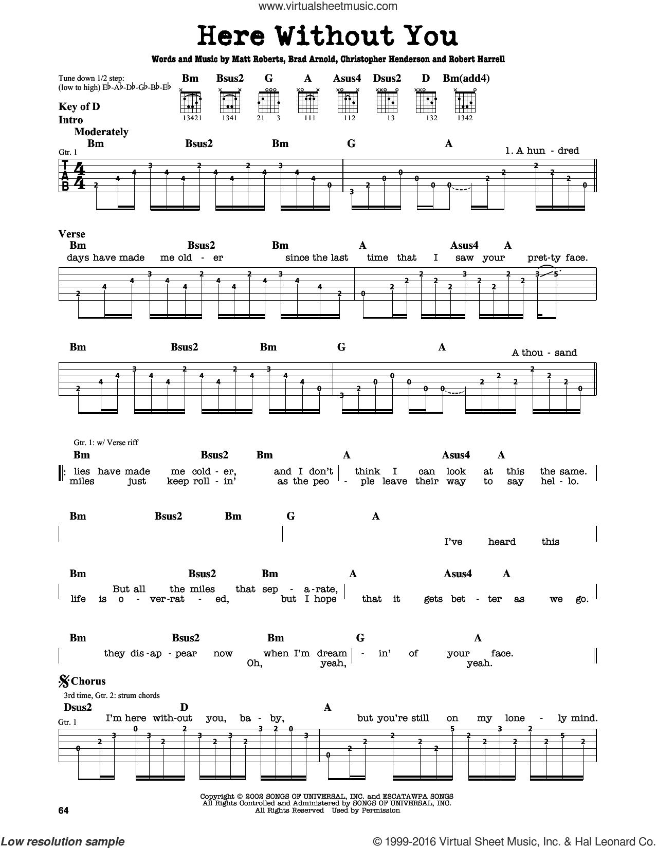 Here Without You sheet music for guitar solo (lead sheet) by Robert Harrell