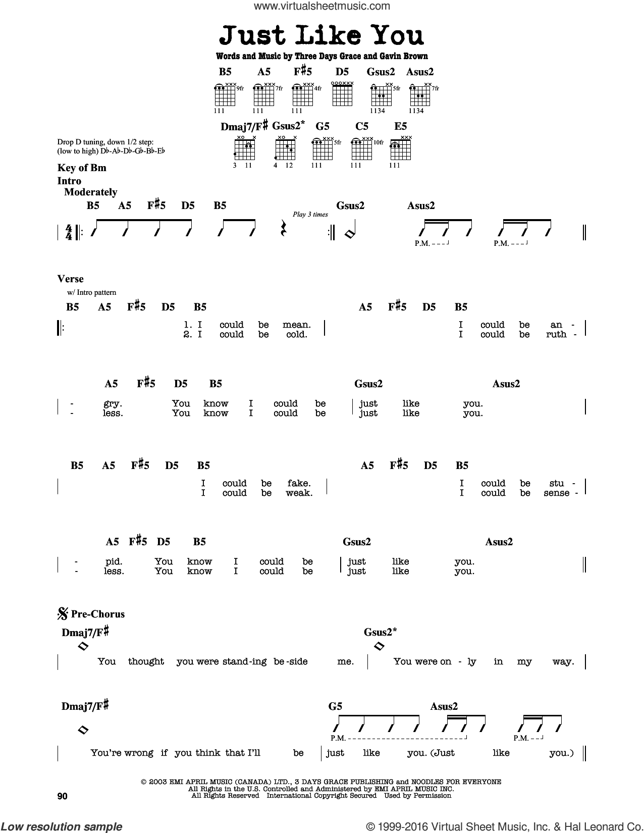 Just Like You sheet music for guitar solo (lead sheet) by Three Days Grace and Gavin Brown, intermediate guitar (lead sheet). Score Image Preview.