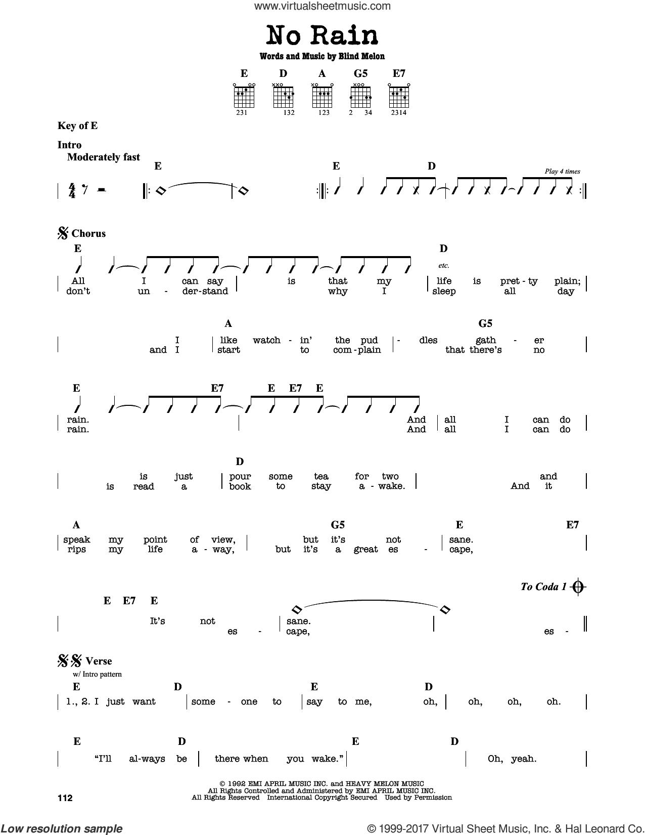 Melon   No Rain sheet music intermediate for guitar solo lead sheet