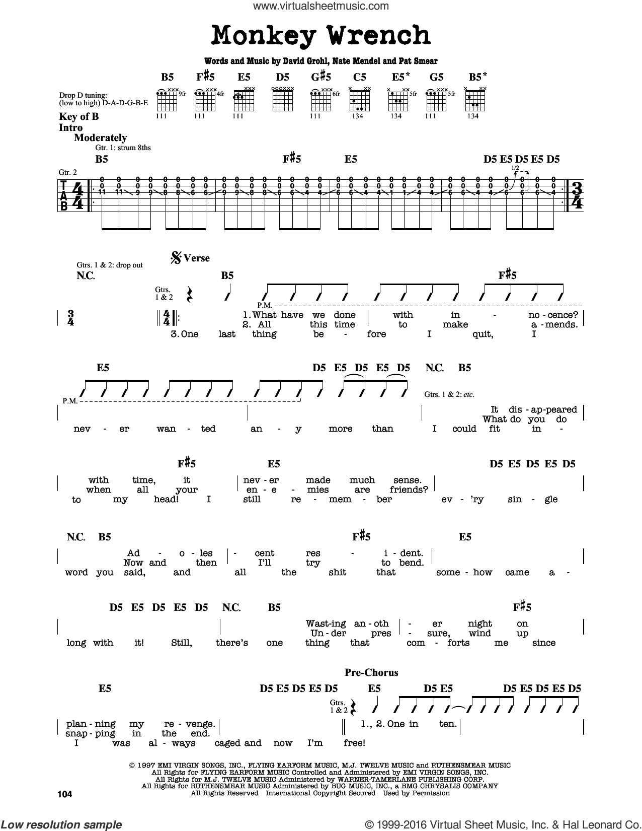 Monkey Wrench sheet music for guitar solo (lead sheet) by Foo Fighters, Dave Grohl, Georg Ruthenberg and Nate Mendel, intermediate guitar (lead sheet)