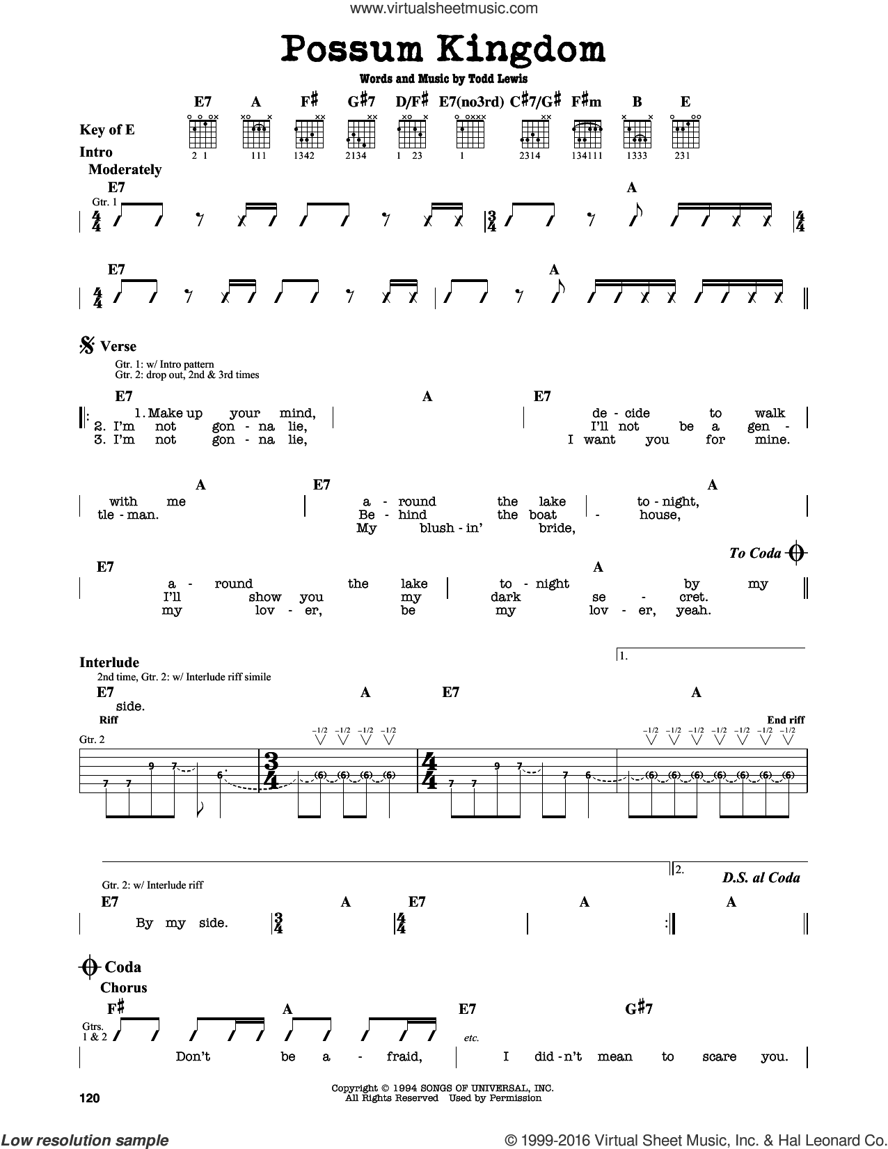 Possum Kingdom sheet music for guitar solo (lead sheet) by Todd Lewis. Score Image Preview.