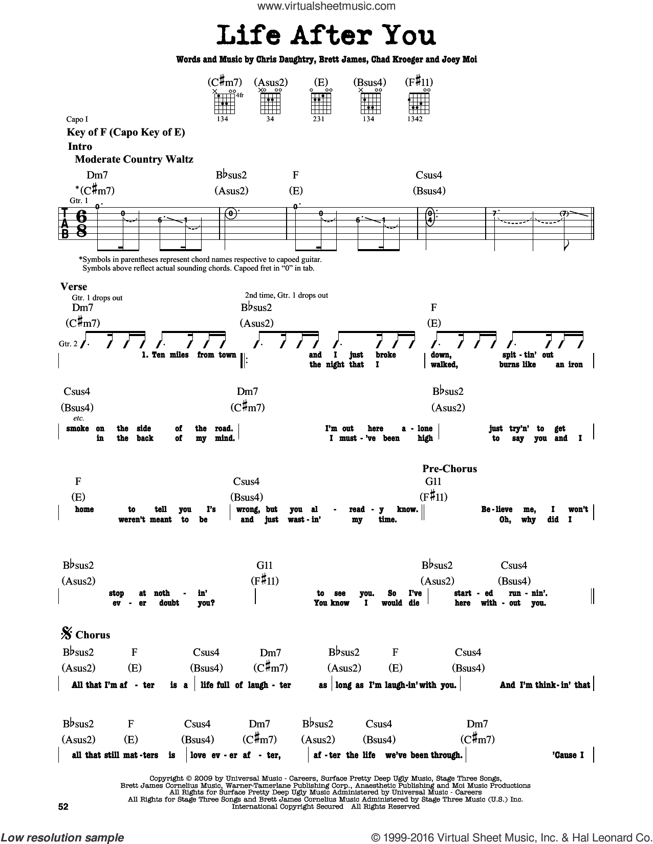 Life After You sheet music for guitar solo (lead sheet) by Daughtry, Brett James, Chad Kroeger, Chris Daughtry and Joey Moi. Score Image Preview.