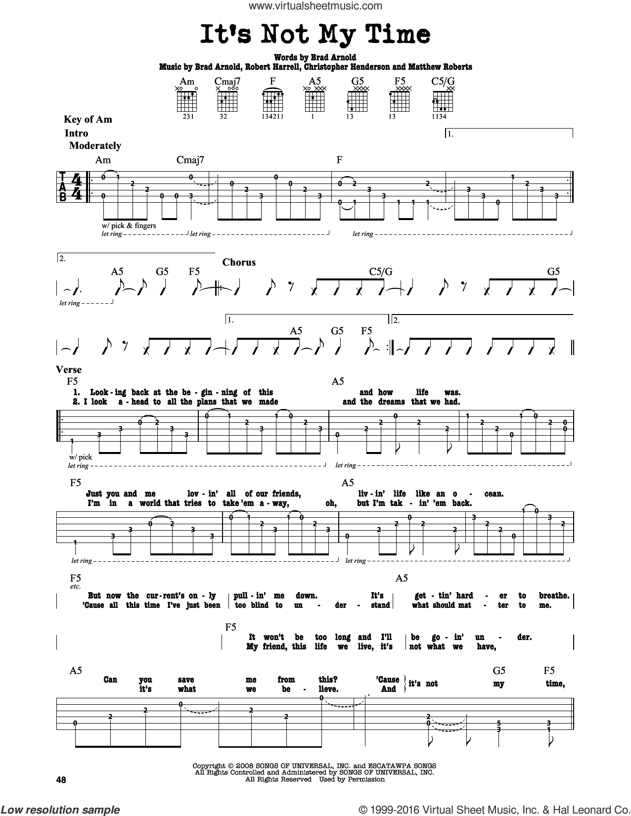 It's Not My Time sheet music for guitar solo (lead sheet) by 3 Doors Down, intermediate guitar (lead sheet). Score Image Preview.