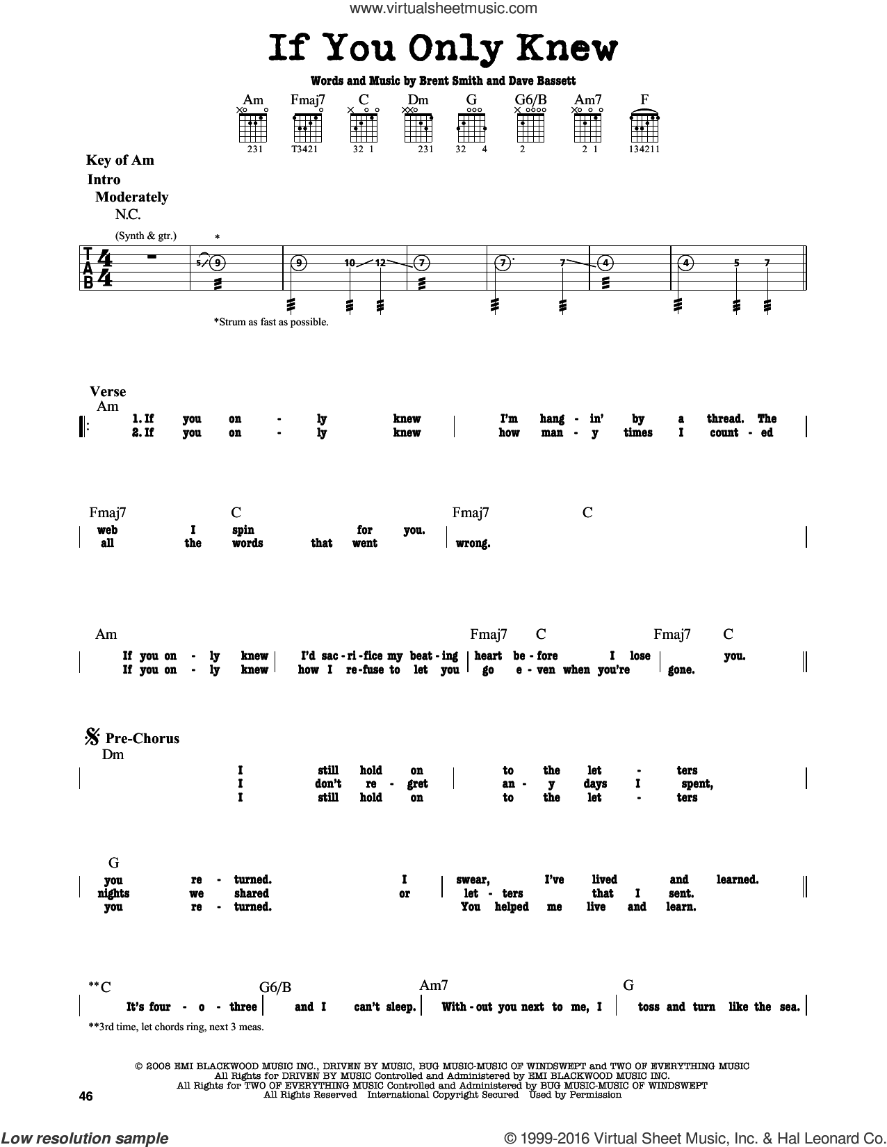 If You Only Knew sheet music for guitar solo (lead sheet) by Dave Bassett, Shinedown and Brent Smith. Score Image Preview.
