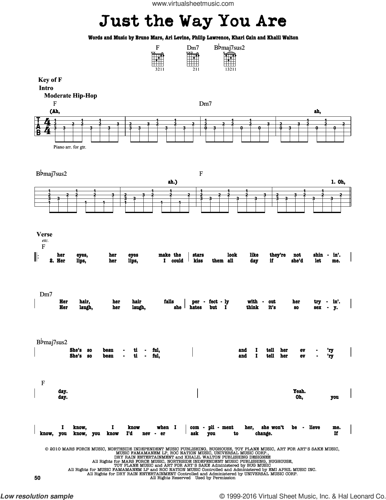 Just The Way You Are sheet music for guitar solo (lead sheet) by Bruno Mars, Ari Levine, Khalil Walton, Khari Cain and Philip Lawrence, intermediate guitar (lead sheet). Score Image Preview.