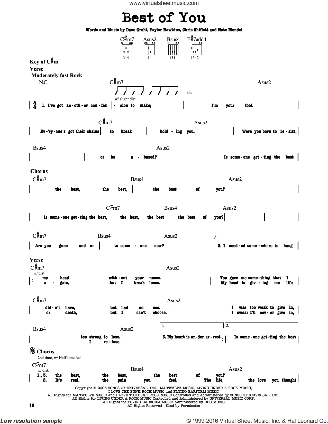 Best Of You sheet music for guitar solo (lead sheet) by Taylor Hawkins, Foo Fighters, Chris Shiflett, Dave Grohl and Nate Mendel. Score Image Preview.