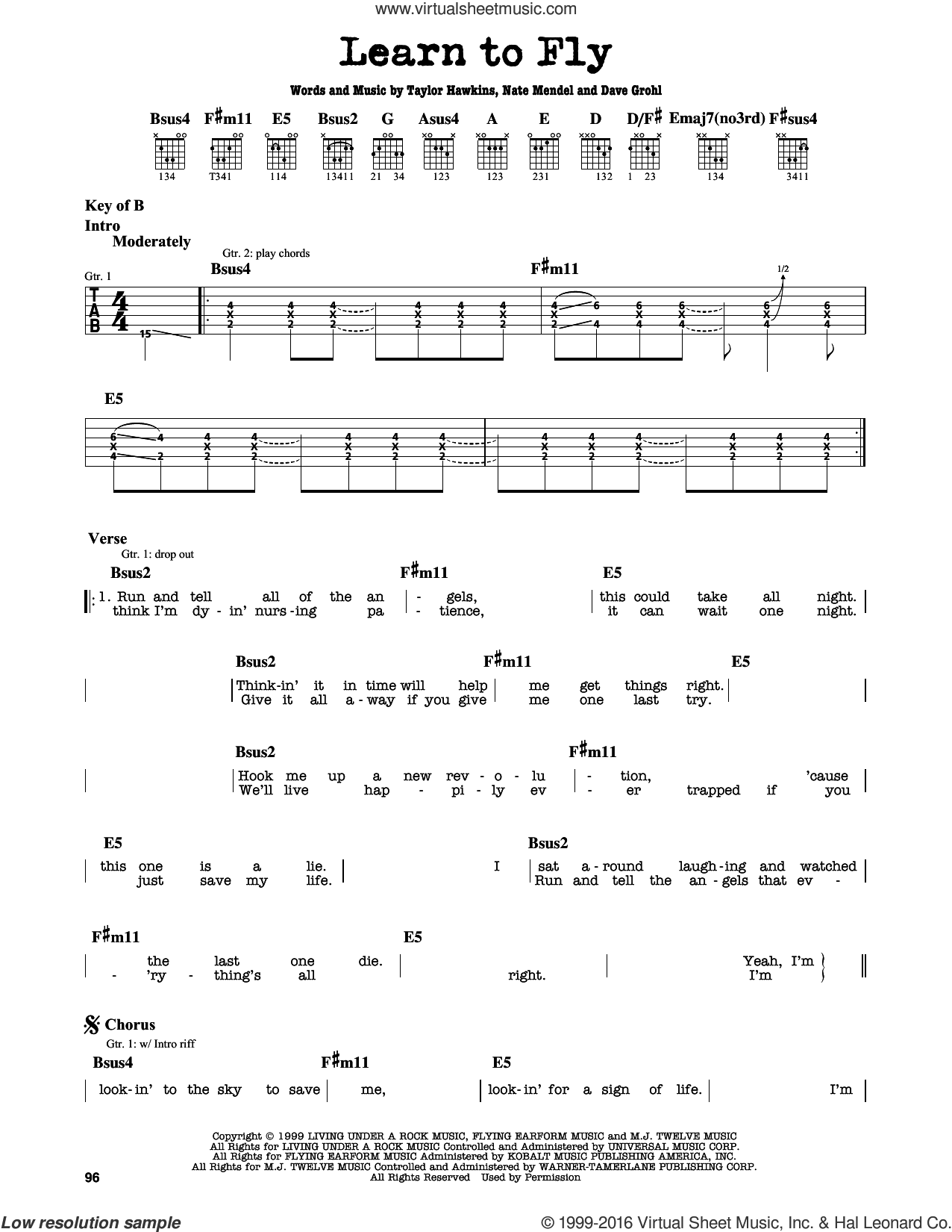 Learn To Fly sheet music for guitar solo (lead sheet) by Foo Fighters, Dave Grohl, Nate Mendel and Taylor Hawkins, intermediate guitar (lead sheet)