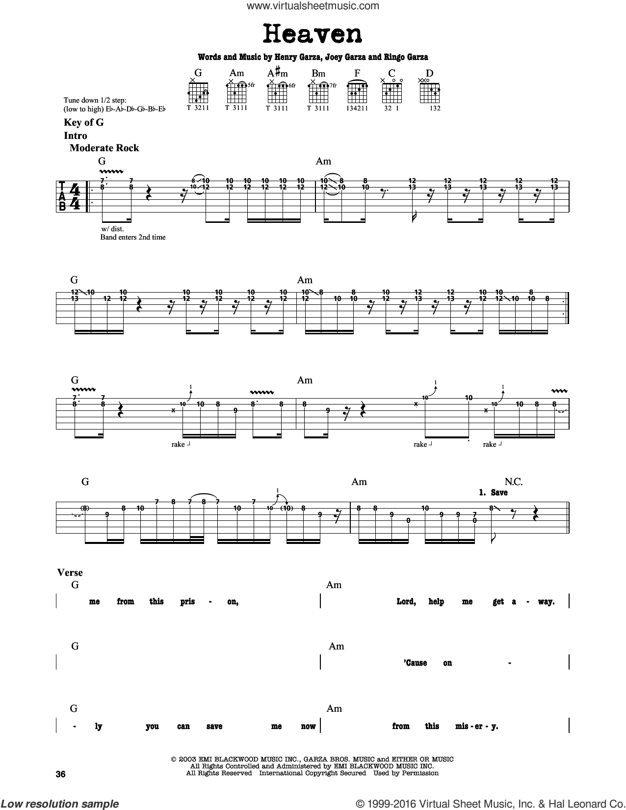 Heaven sheet music for guitar solo (lead sheet) by Los Lonely Boys. Score Image Preview.