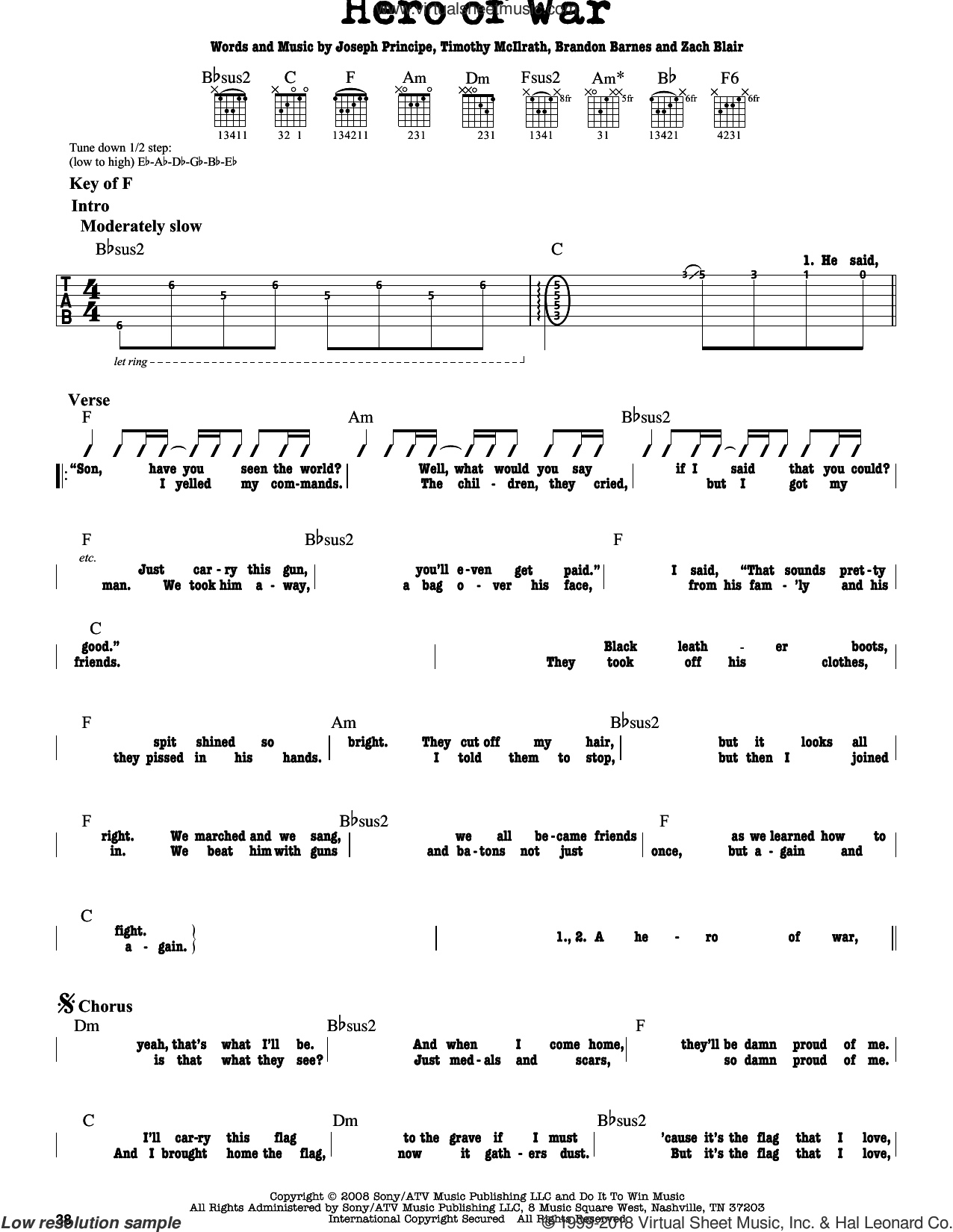Hero Of War sheet music for guitar solo (lead sheet) by Zach Blair and Brandon Barnes. Score Image Preview.
