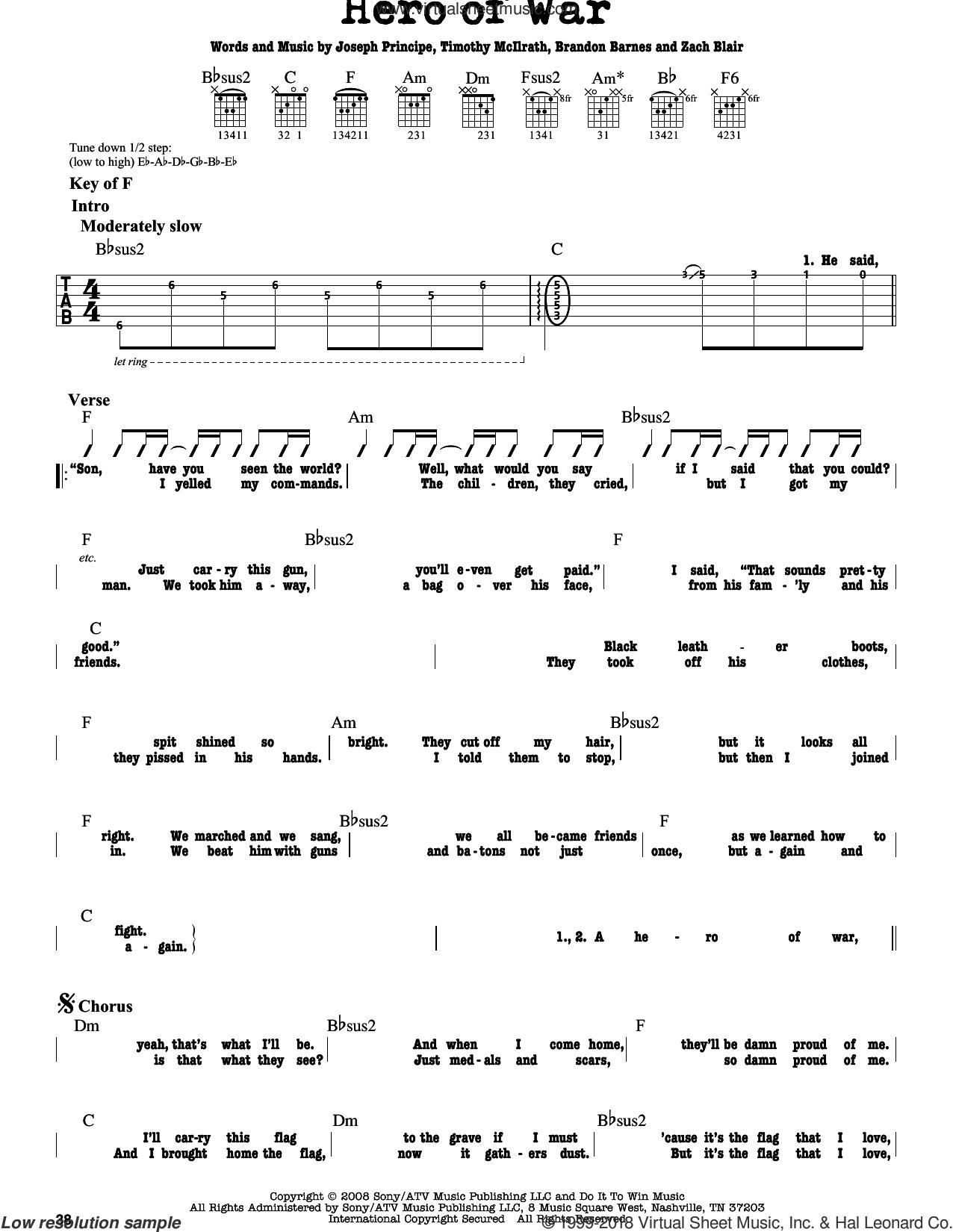 Against - Hero Of War sheet music for guitar solo (lead sheet)