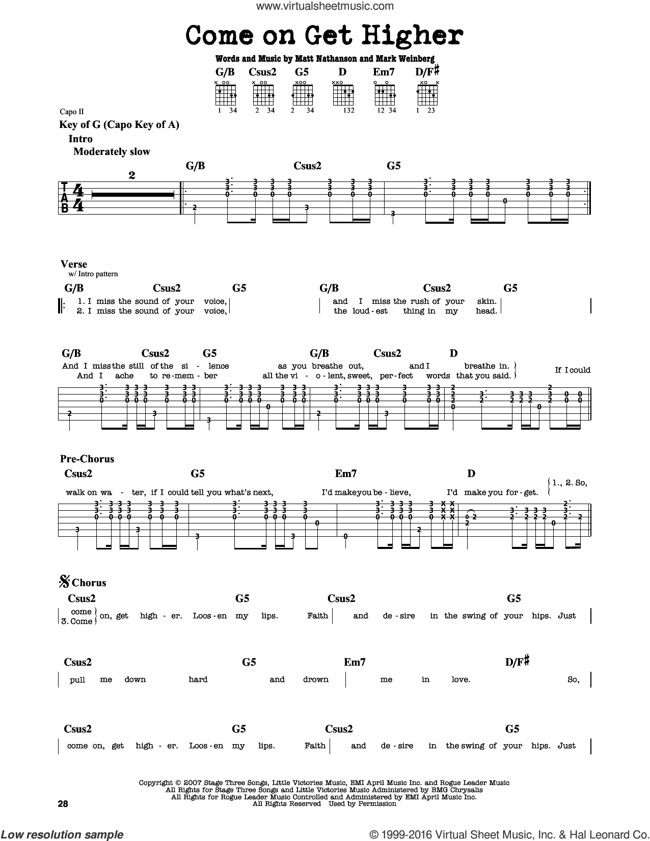 Come On Get Higher sheet music for guitar solo (lead sheet) by Mark Weinberg and Matt Nathanson. Score Image Preview.