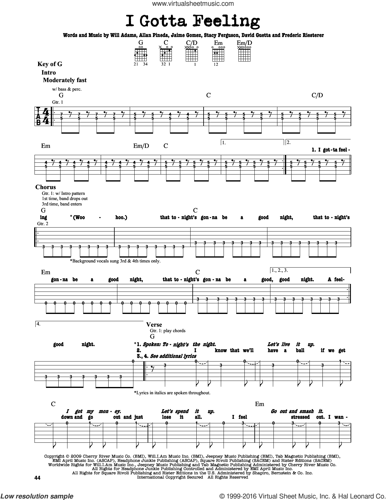 I Gotta Feeling sheet music for guitar solo (lead sheet) by Will Adams, Black Eyed Peas, Allan Pineda, David Guetta, Frederic Riesterer and Stacy Ferguson. Score Image Preview.