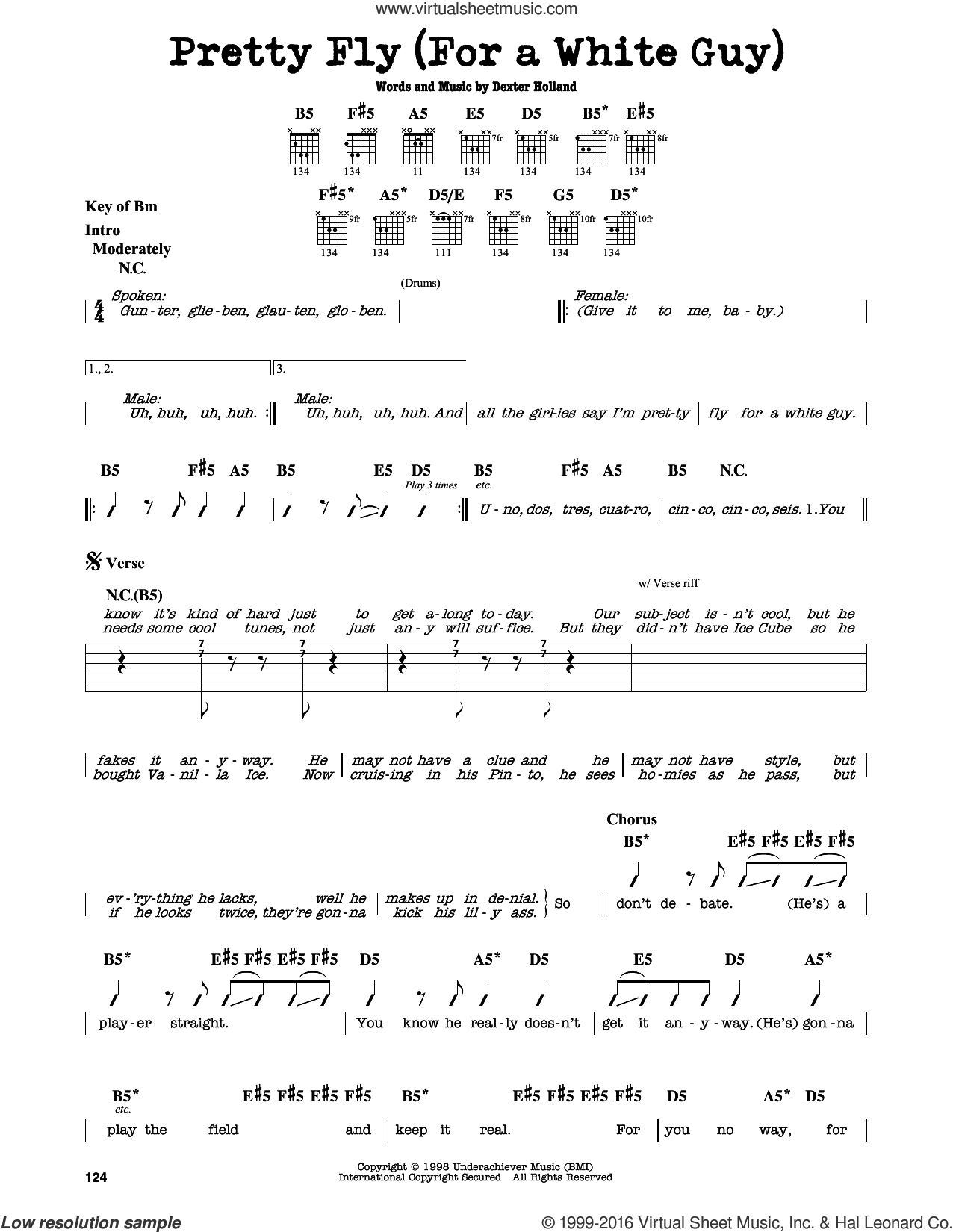Pretty Fly (For A White Guy) sheet music for guitar solo (lead sheet) by The Offspring, intermediate guitar (lead sheet). Score Image Preview.