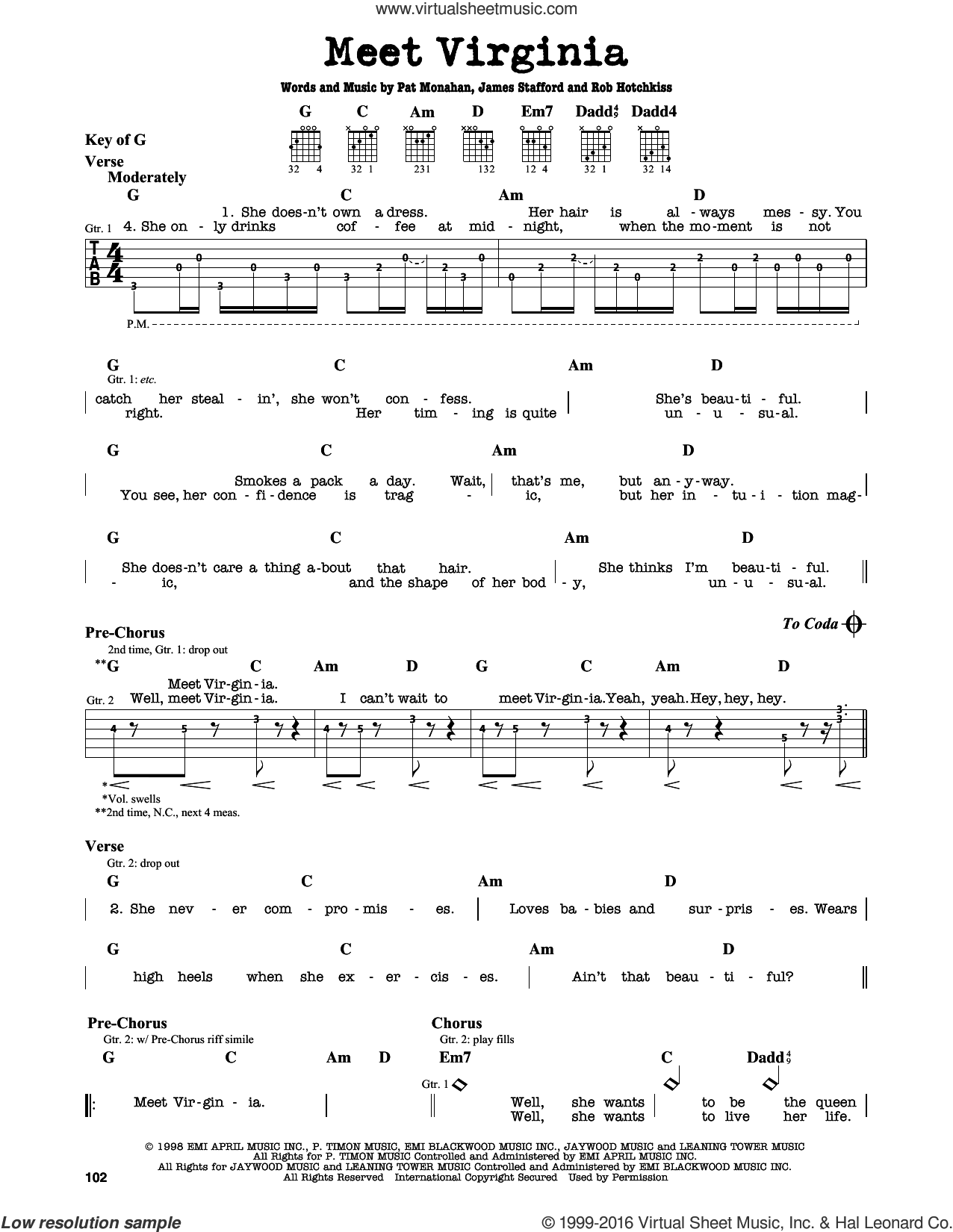 Meet Virginia sheet music for guitar solo (lead sheet) by Train and Pat Monahan, intermediate guitar (lead sheet). Score Image Preview.