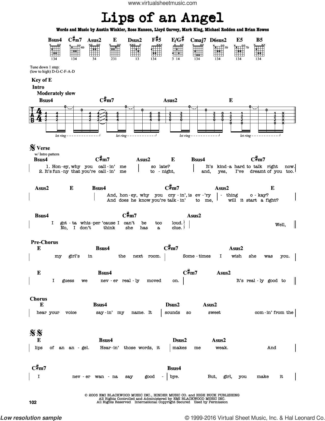 Lips Of An Angel sheet music for guitar solo (lead sheet) by Hinder, Jack Ingram, Austin Winkler, Brian Howes, Lloyd Garvey, Mark King, Michael Rodden and Ross Hanson, intermediate guitar (lead sheet)
