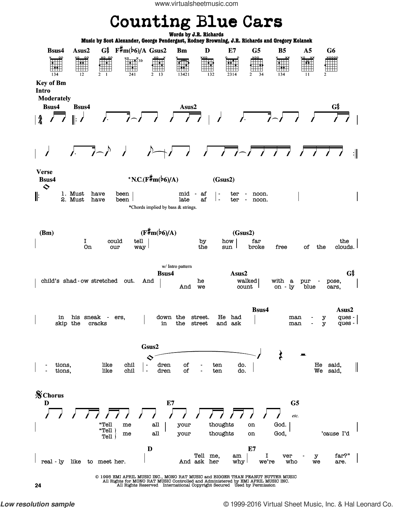 Counting Blue Cars sheet music for guitar solo (lead sheet) by Dishwalla. Score Image Preview.