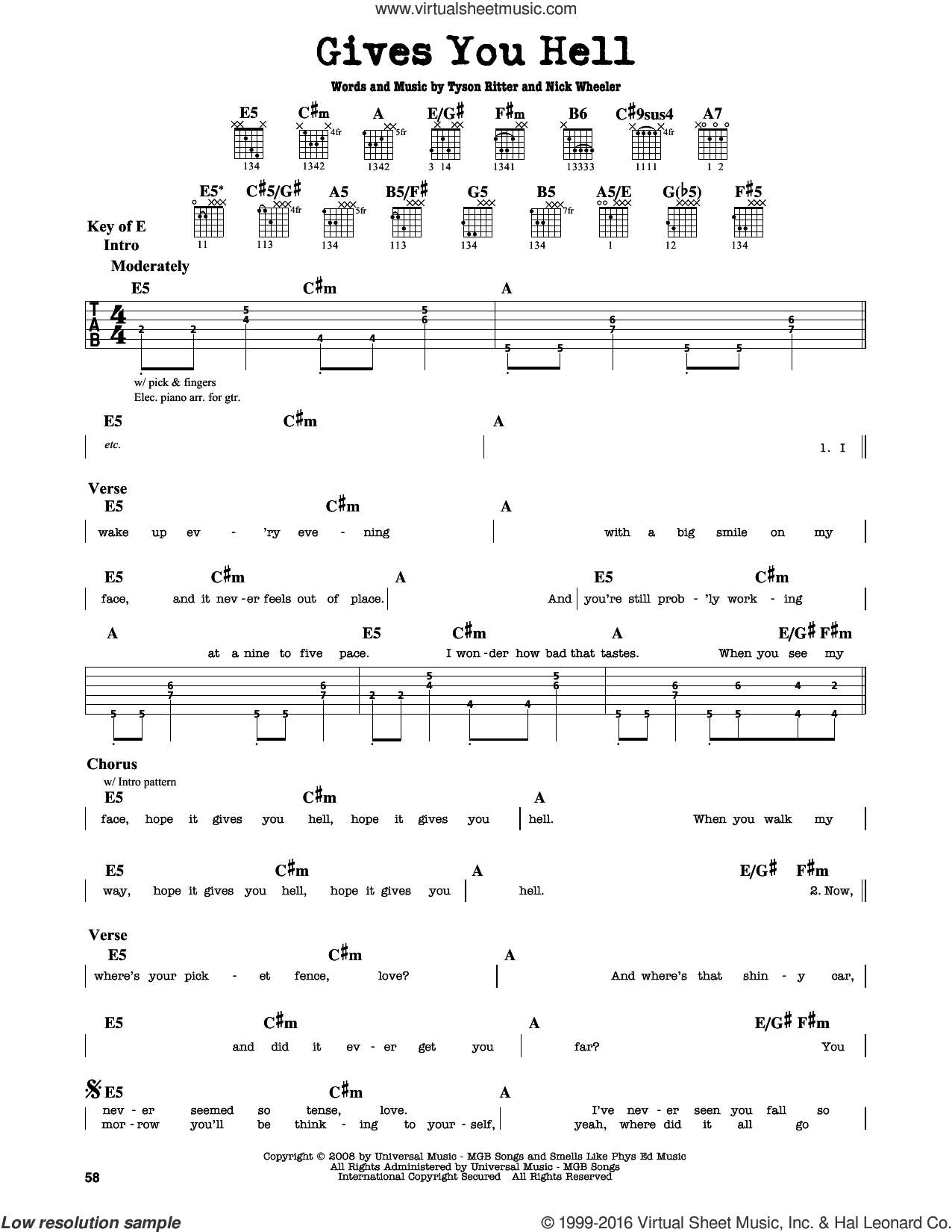 Gives You Hell sheet music for guitar solo (lead sheet) by Tyson Ritter. Score Image Preview.