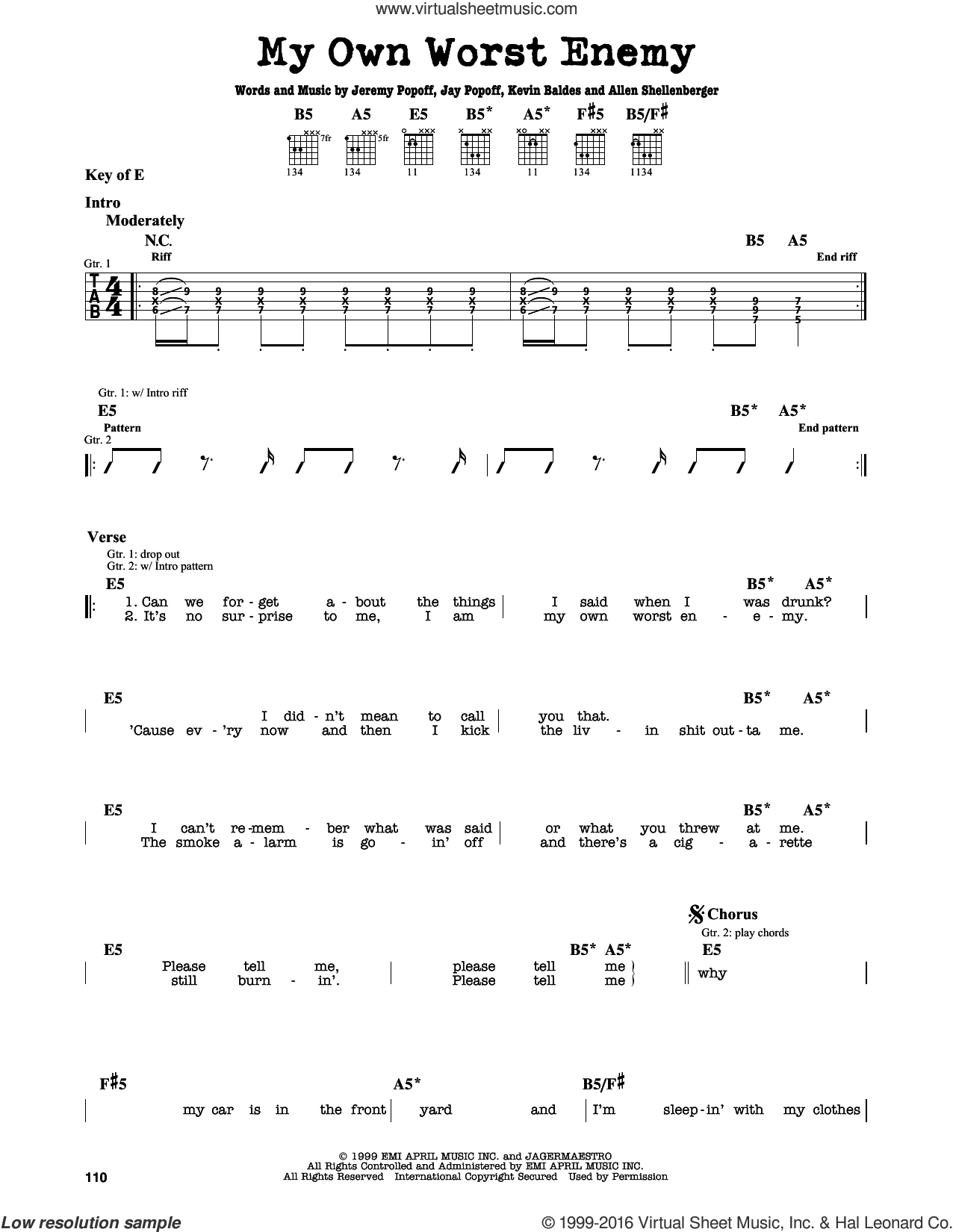 My Own Worst Enemy sheet music for guitar solo (lead sheet) by Lit, Allen Shellenberger, Jay Popoff, Jeremy Popoff and Kevin Baldes, intermediate guitar (lead sheet)