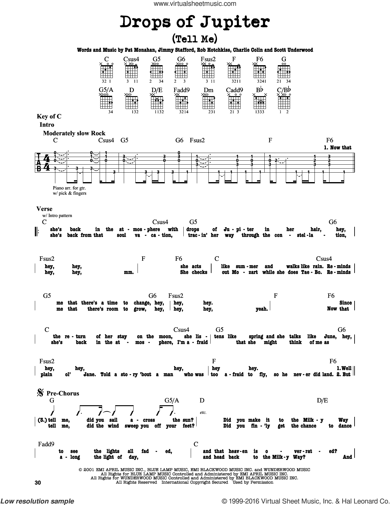 Drops Of Jupiter (Tell Me) sheet music for guitar solo (lead sheet) by Train and Pat Monahan, intermediate guitar (lead sheet). Score Image Preview.