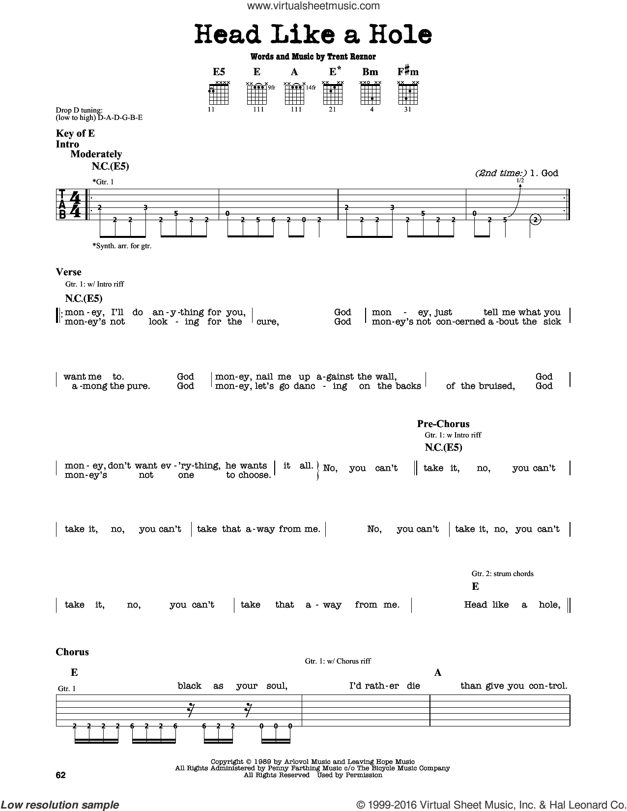 Nails - Head Like A Hole sheet music for guitar solo (lead sheet)