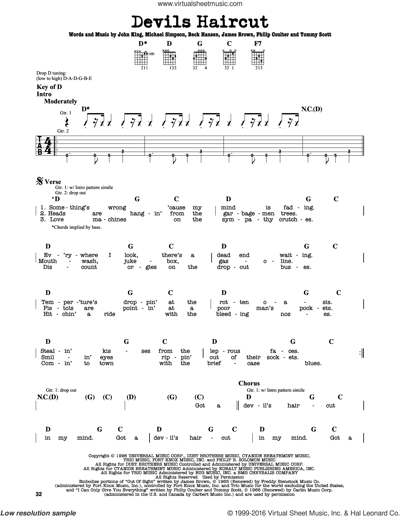 Hansen Devils Haircut Sheet Music For Guitar Solo Lead Sheet