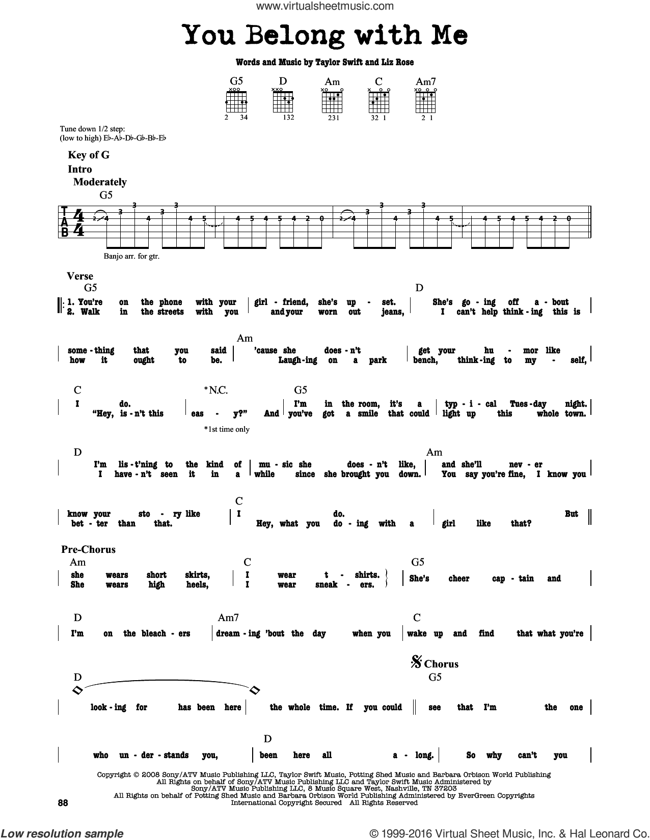 You Belong With Me sheet music for guitar solo (lead sheet) by Taylor Swift and Liz Rose, intermediate guitar (lead sheet)