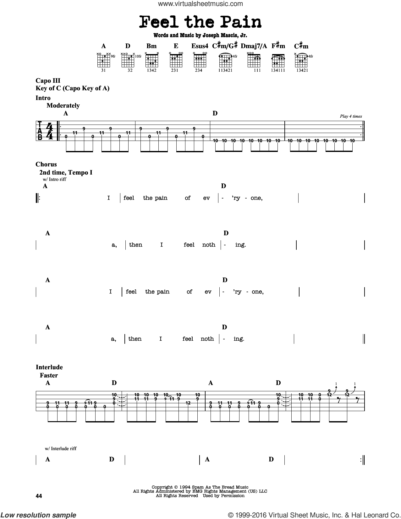Feel The Pain sheet music for guitar solo (lead sheet) by Dinosaur Jr.. Score Image Preview.