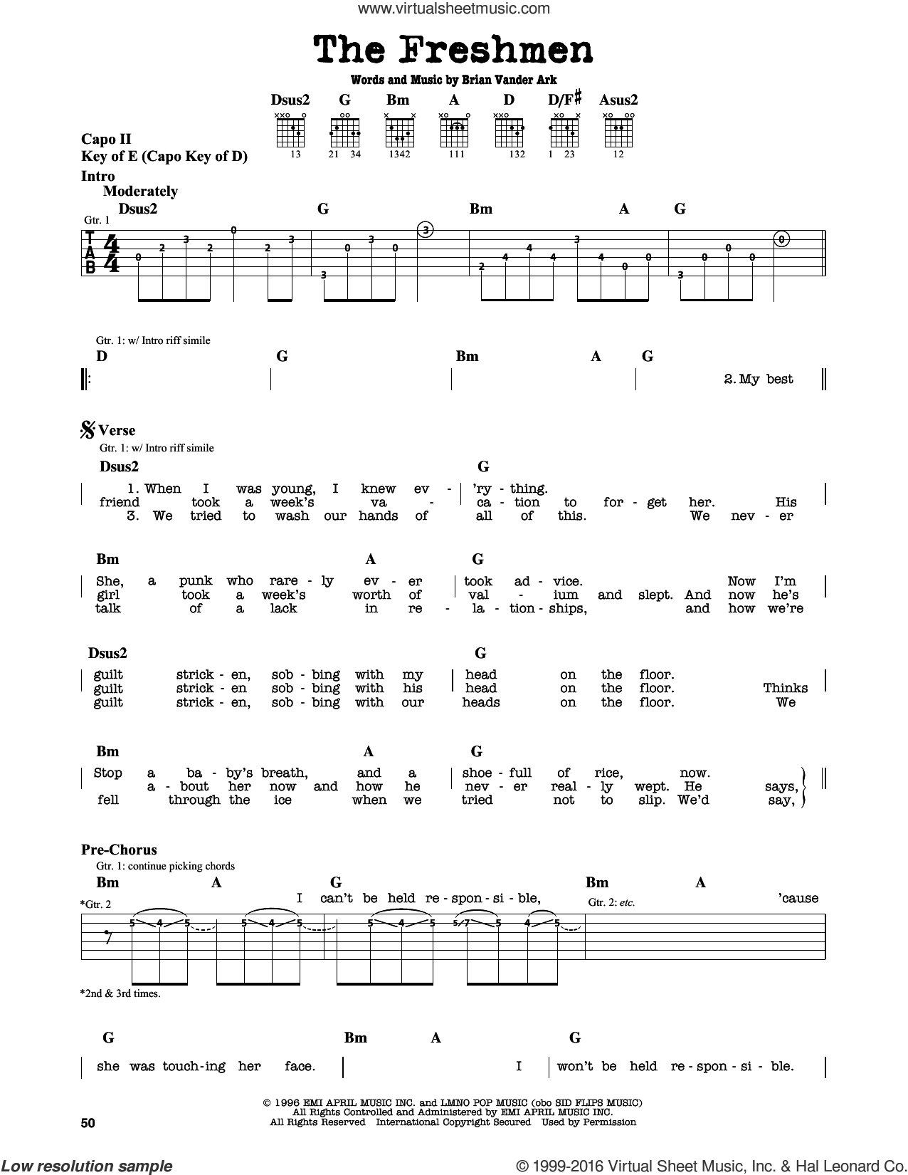 The Freshmen sheet music for guitar solo (lead sheet) by The Verve Pipe, intermediate guitar (lead sheet). Score Image Preview.