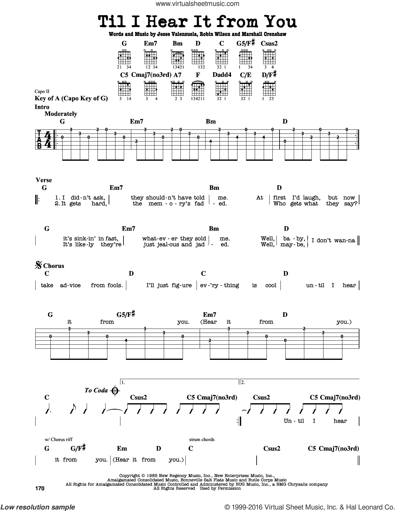 Til I Hear It From You sheet music for guitar solo (lead sheet) by Robin Wilson, Gin Blossoms, Jesse Valenzuela and Marshall Crenshaw. Score Image Preview.
