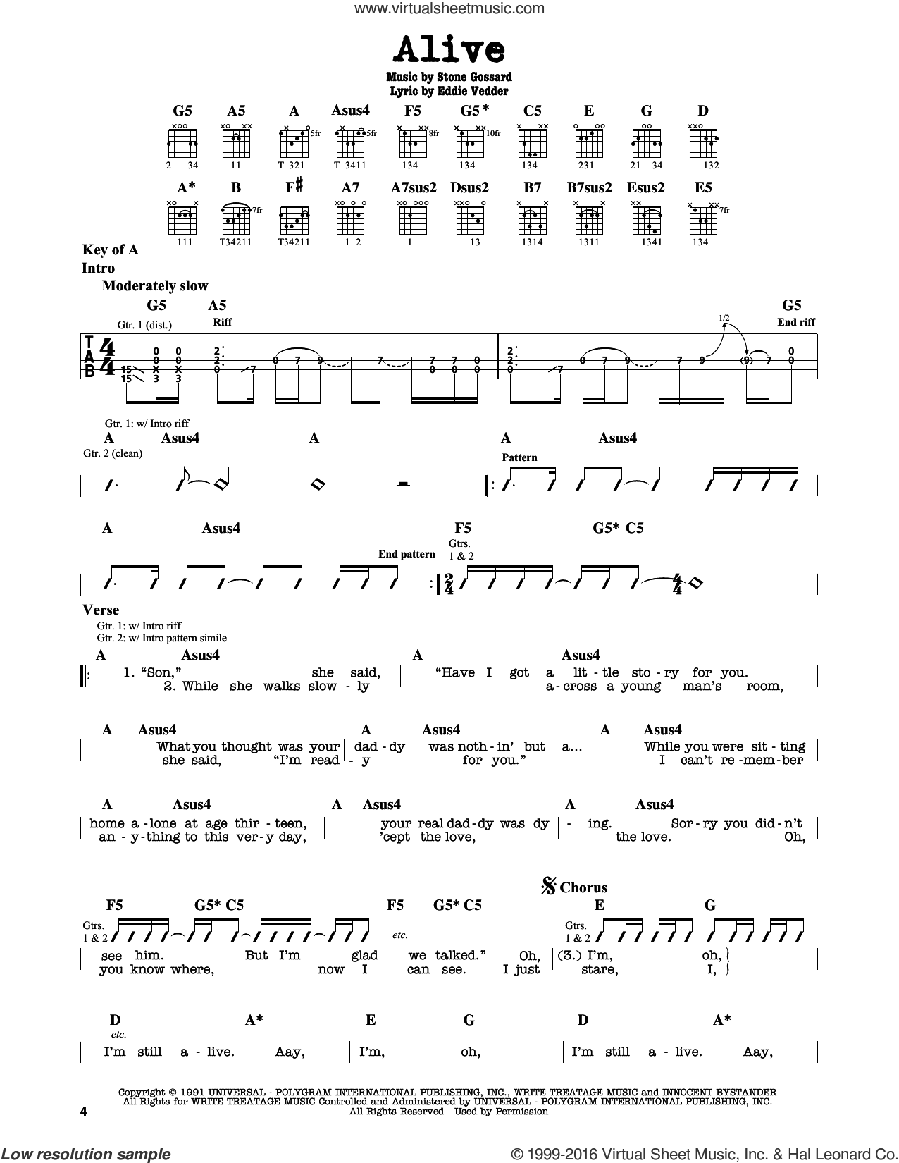 Alive sheet music for guitar solo (lead sheet) by Stone Gossard, Pearl Jam and Eddie Vedder. Score Image Preview.