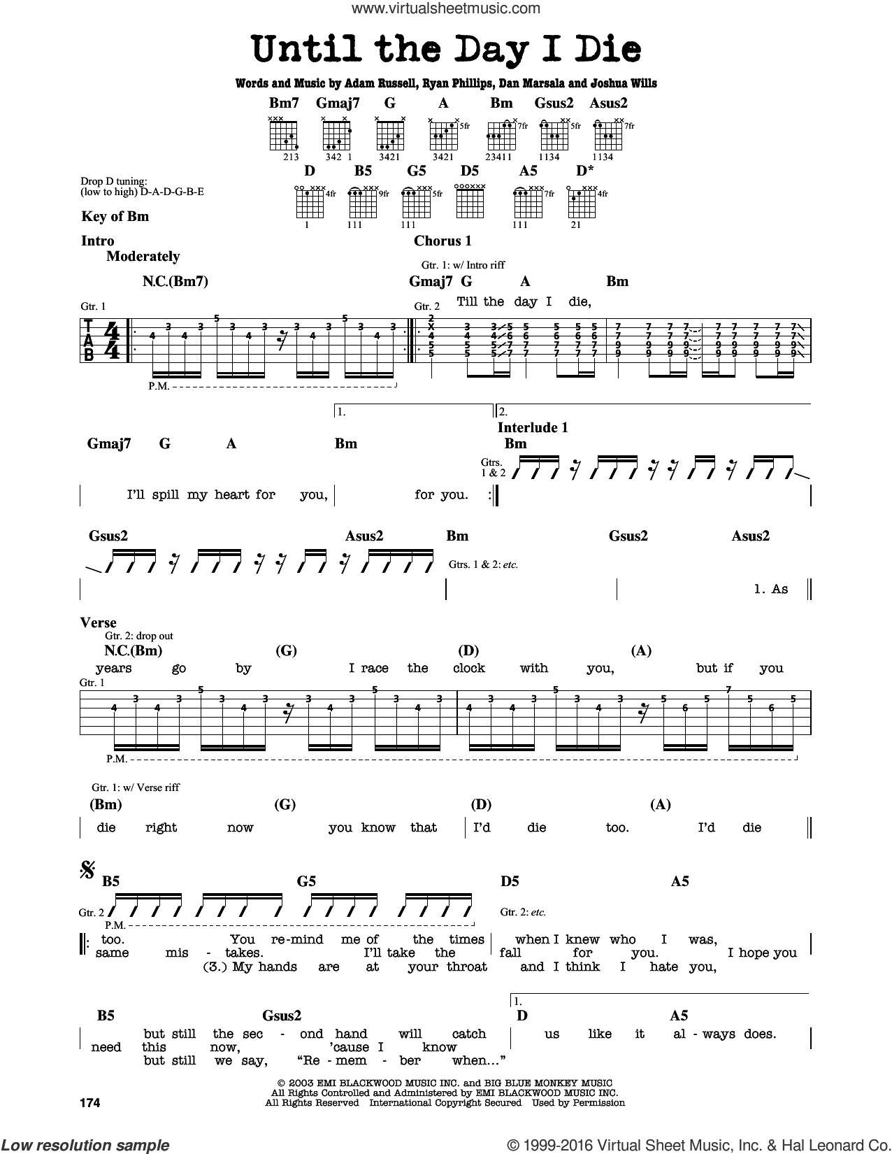 Until The Day I Die sheet music for guitar solo (lead sheet) by Ryan Phillips
