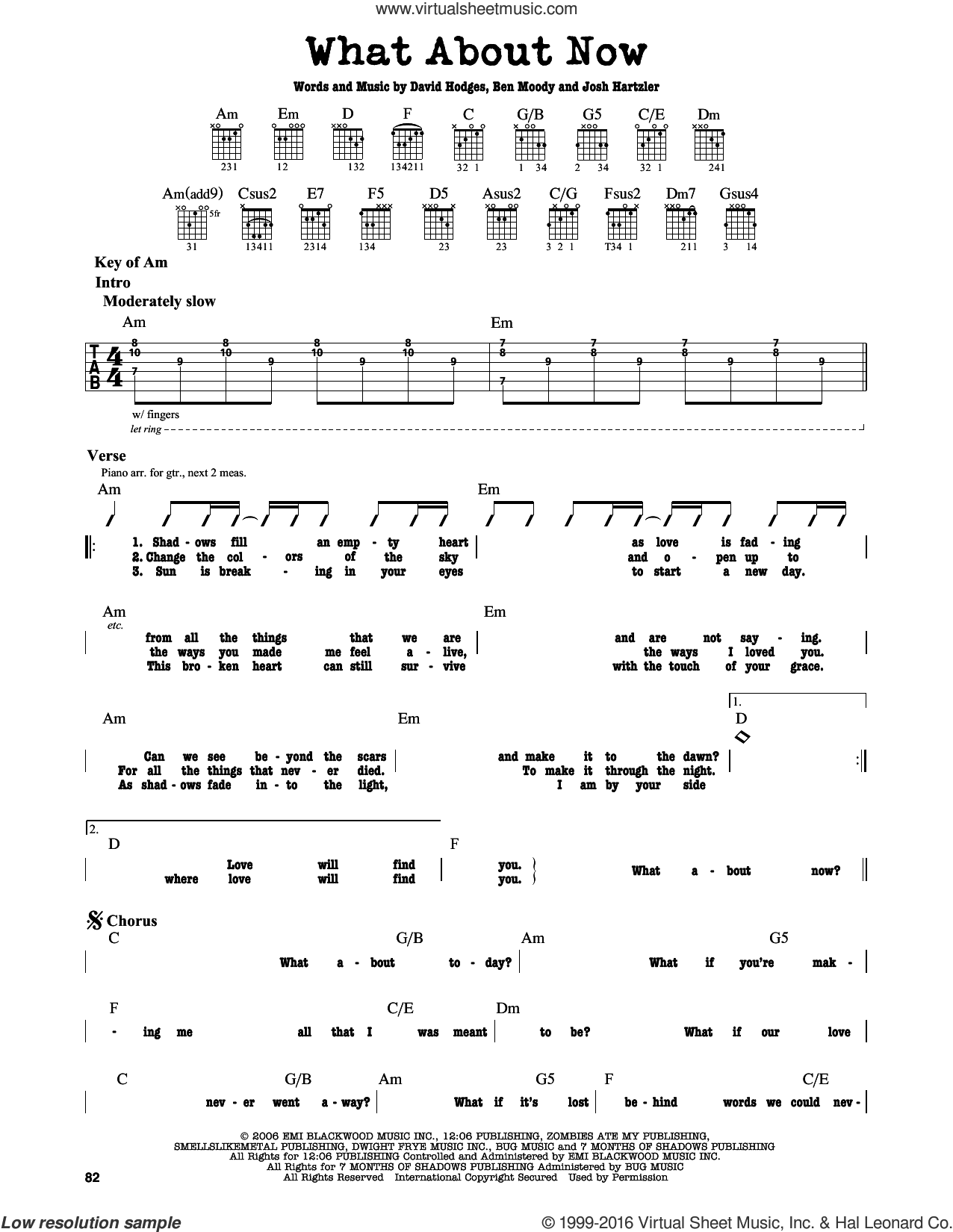 What About Now sheet music for guitar solo (lead sheet) by Josh Hartzler, Daughtry, Ben Moody and David Hodges. Score Image Preview.