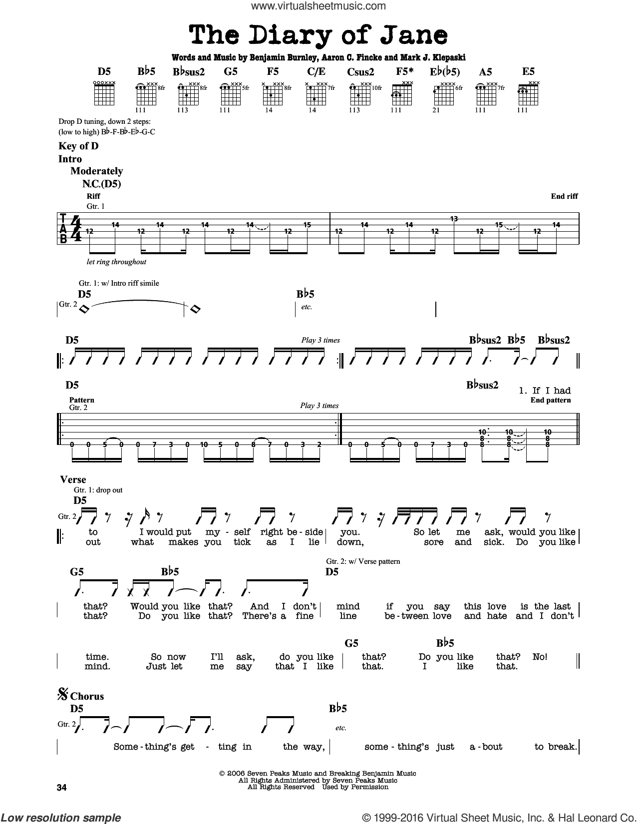 The Diary Of Jane sheet music for guitar solo (lead sheet) by Breaking Benjamin. Score Image Preview.