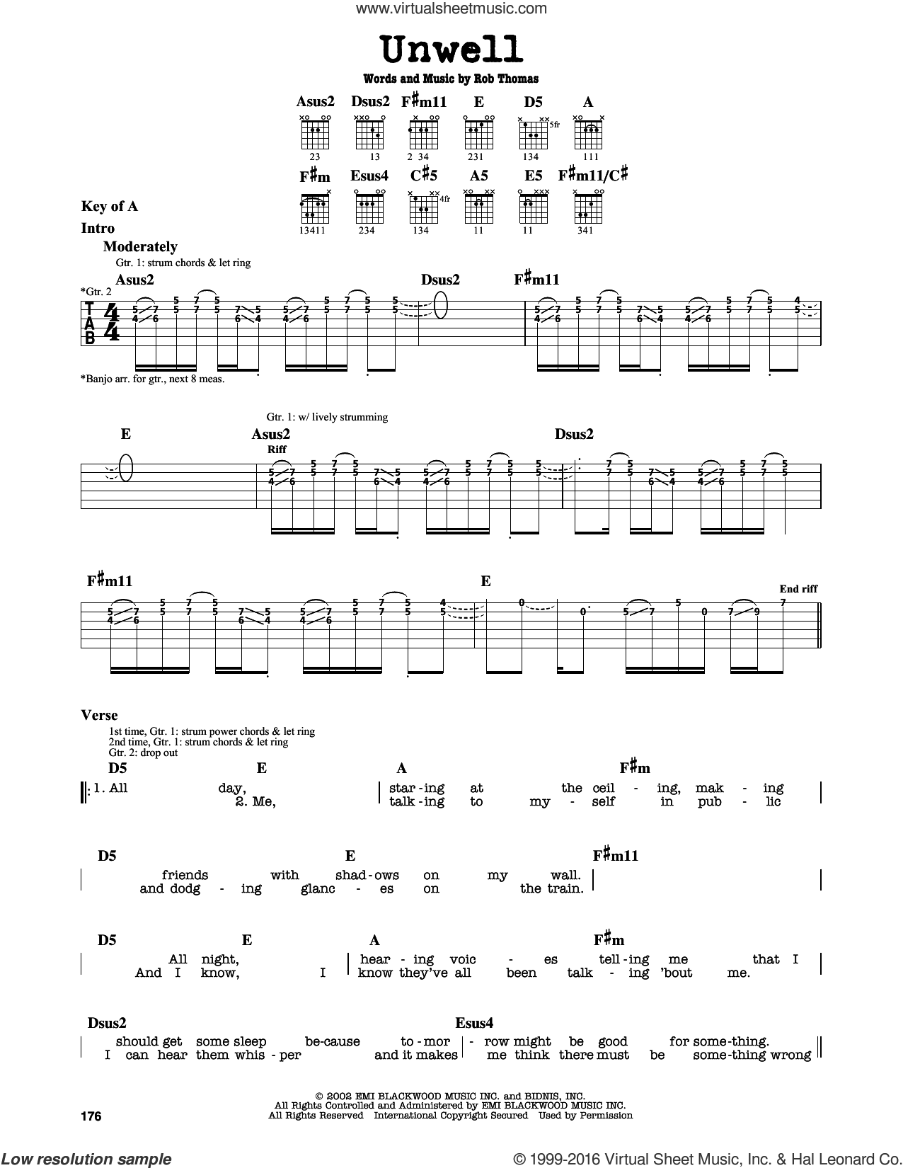 Unwell sheet music for guitar solo (lead sheet) by Matchbox Twenty and Rob Thomas, intermediate guitar (lead sheet)