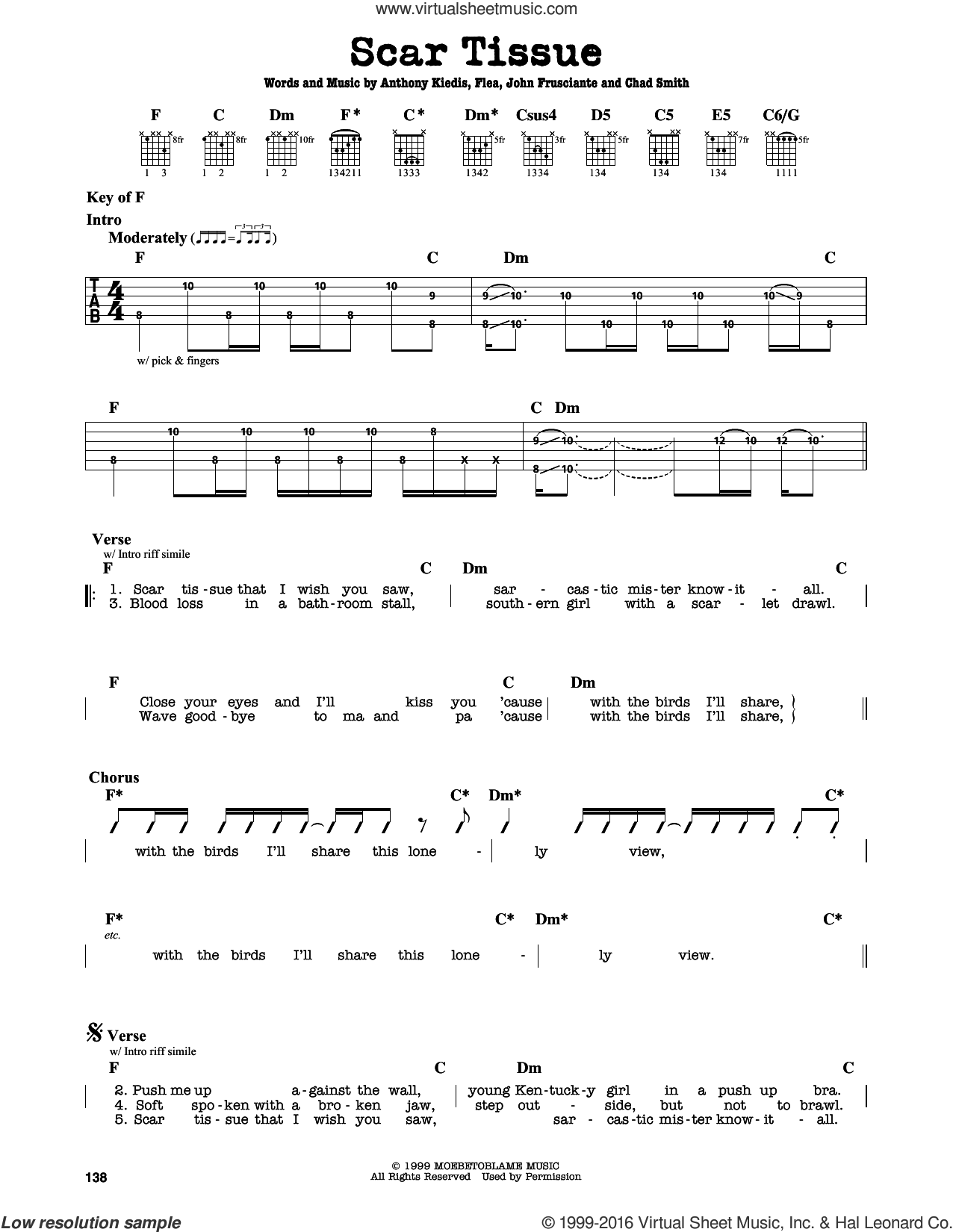 Scar Tissue sheet music for guitar solo (lead sheet) by Red Hot Chili Peppers, Anthony Kiedis, Chad Smith, Flea and John Frusciante, intermediate guitar (lead sheet). Score Image Preview.