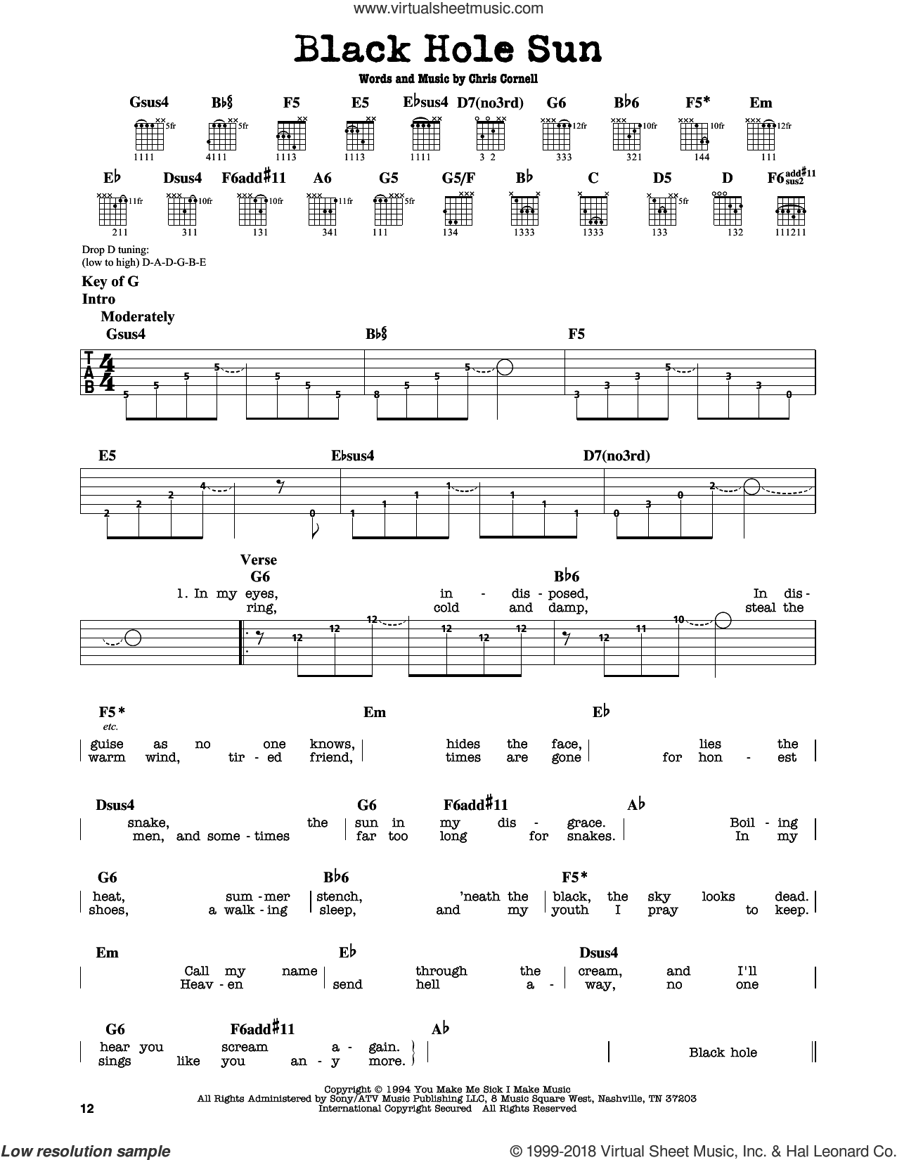 Black Hole Sun sheet music for guitar solo (lead sheet) by Soundgarden and Chris Cornell, intermediate guitar (lead sheet). Score Image Preview.