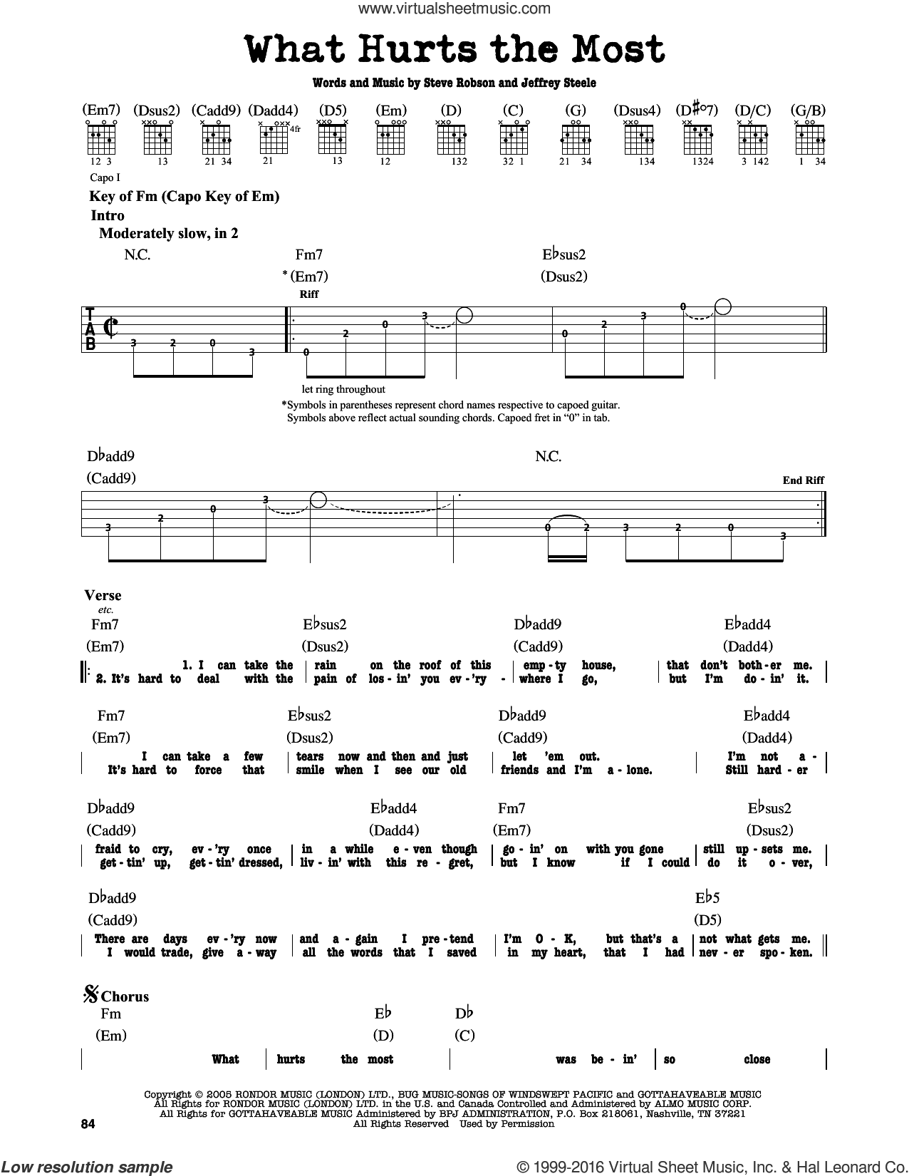What Hurts The Most sheet music for guitar solo (lead sheet) by Rascal Flatts and Cascada. Score Image Preview.
