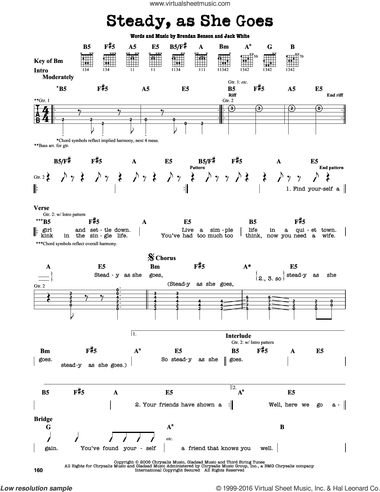 Steady, As She Goes sheet music for guitar solo (lead sheet) by Jack White, The Raconteurs and Brendan Benson. Score Image Preview.