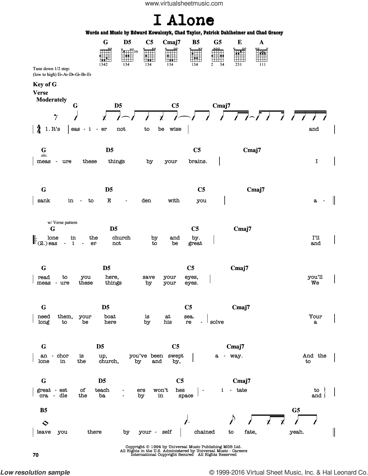 I Alone sheet music for guitar solo (lead sheet) by Live and Chad Taylor, intermediate guitar (lead sheet). Score Image Preview.