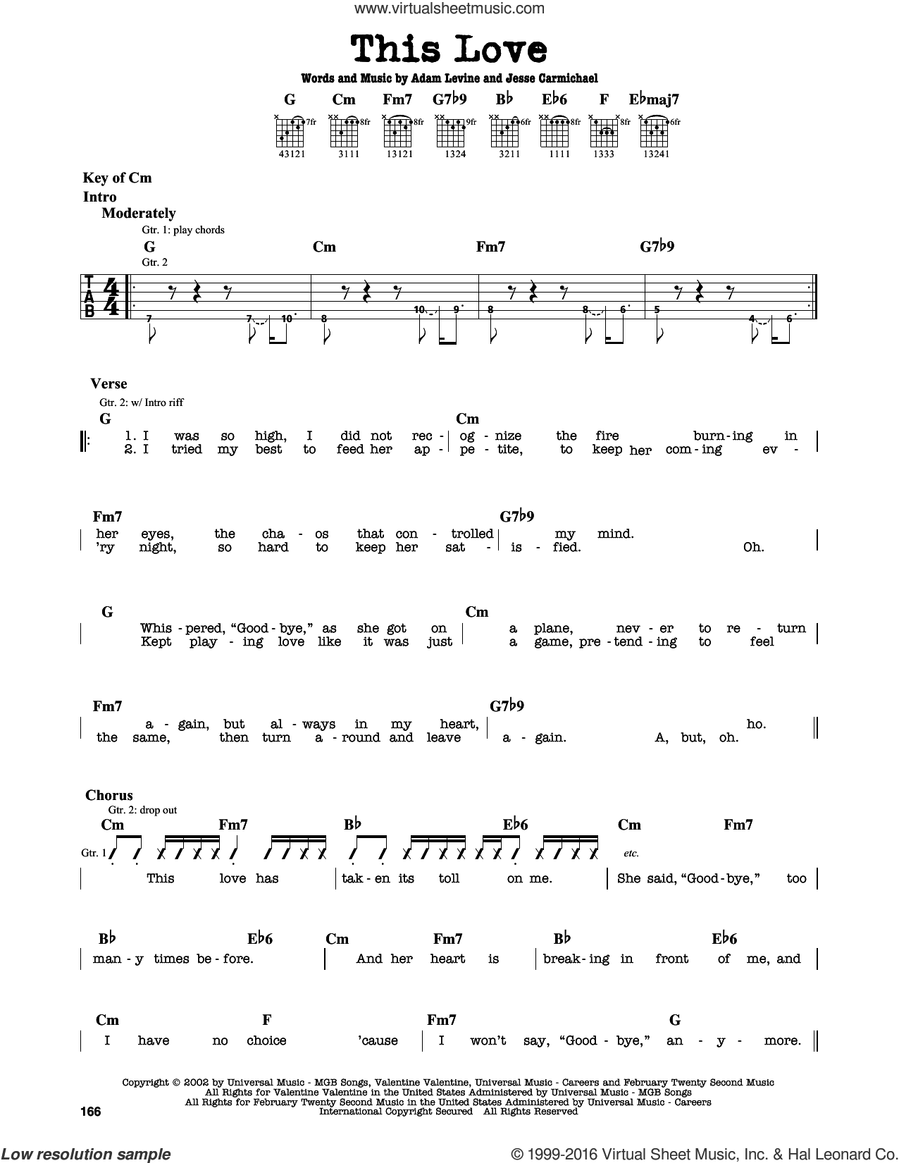 This Love sheet music for guitar solo (lead sheet) by Maroon 5, Adam Levine and Jesse Carmichael. Score Image Preview.