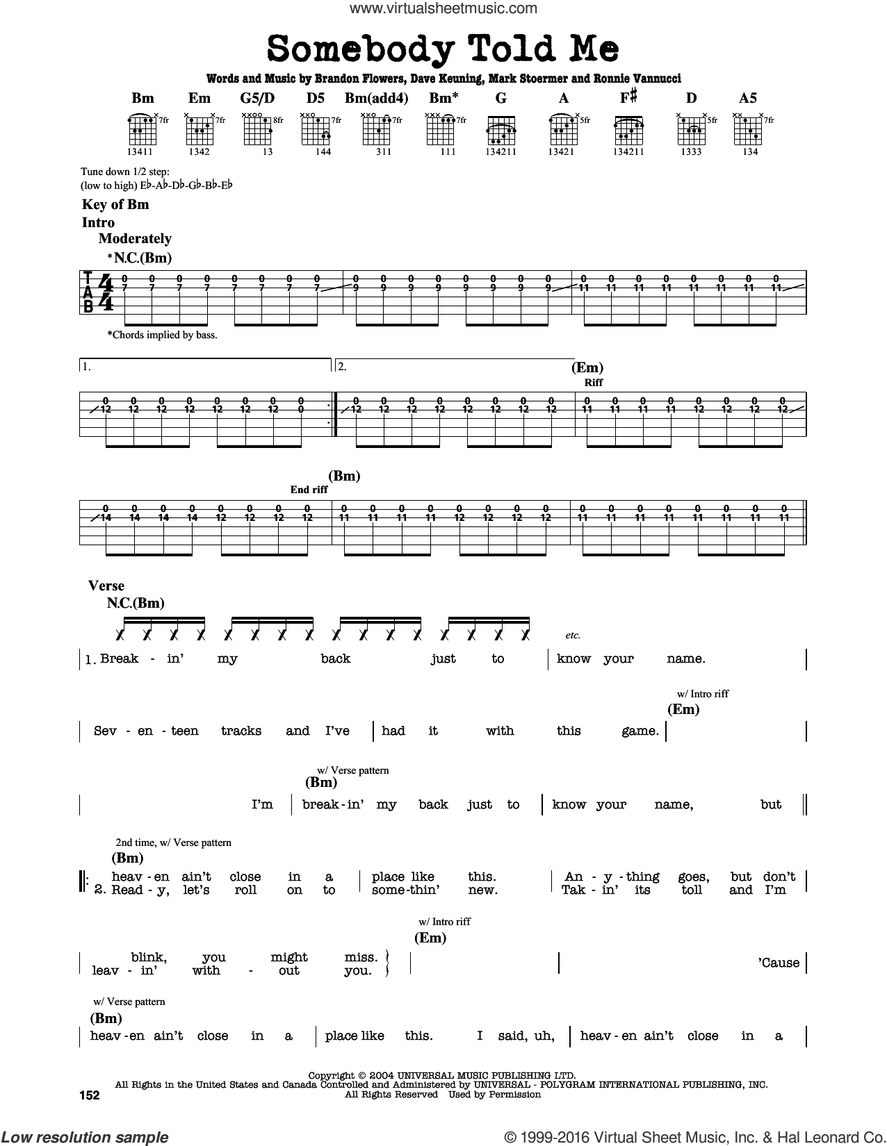 Somebody Told Me sheet music for guitar solo (lead sheet) by Ronnie Vannucci, The Killers, Brandon Flowers, Dave Keuning and Mark Stoermer. Score Image Preview.